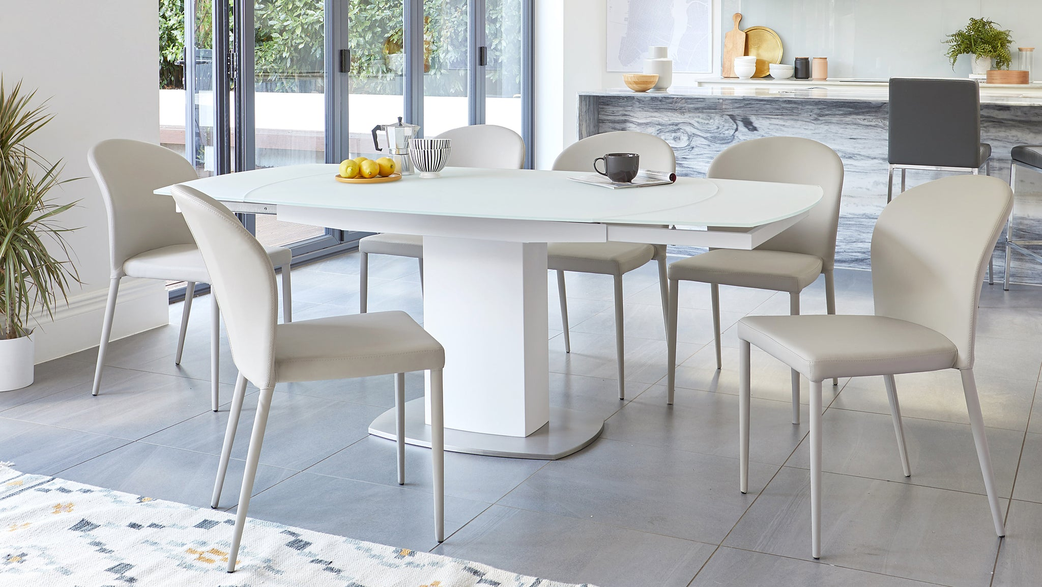 Camillo White Extending Table And Santo Faux Leather Dining Set