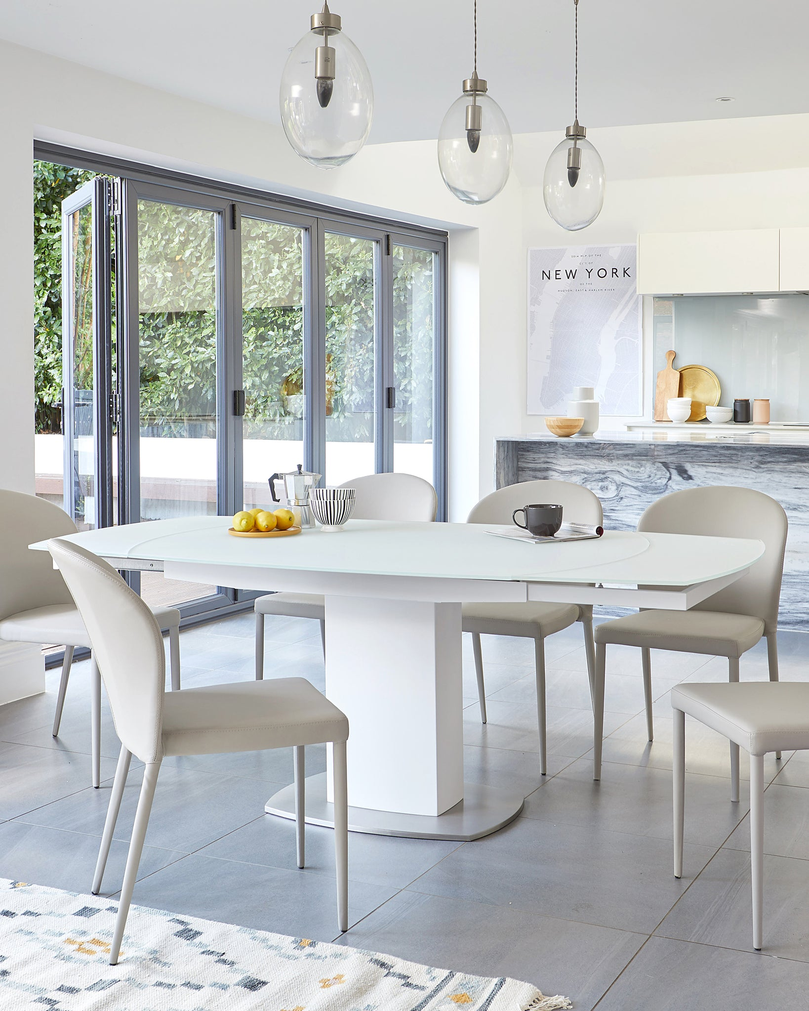 Camillo White Frosted Glass Extending Dining Table