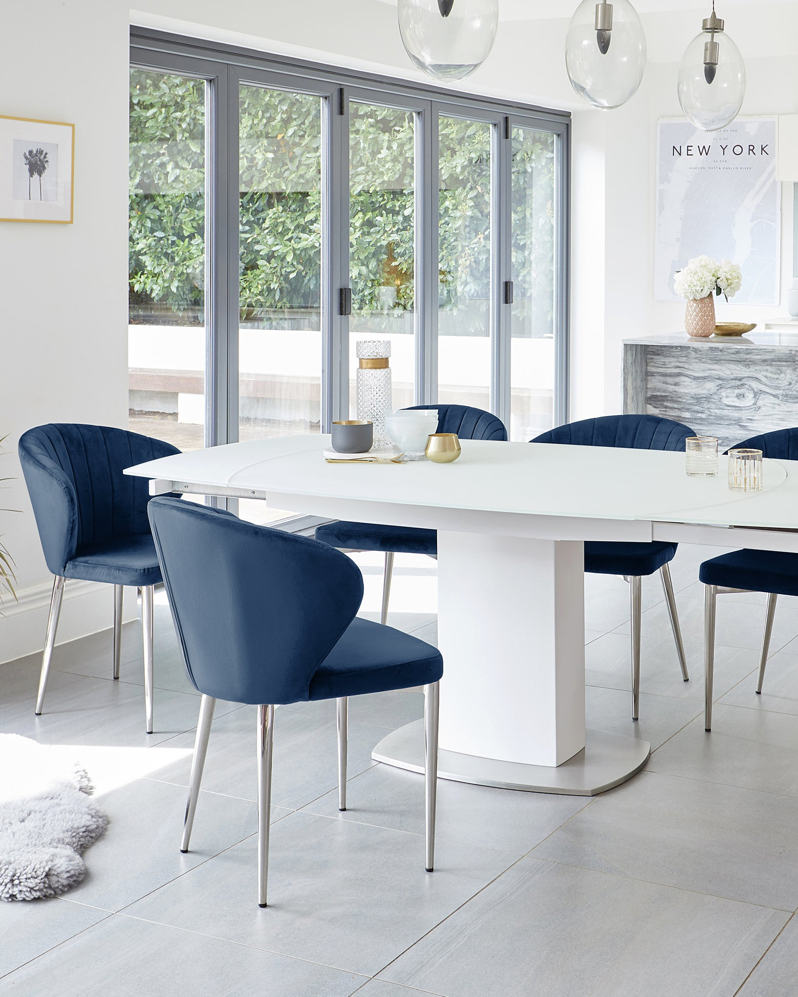 Camillo White Extending Table With Harper Sapphire Blue Velvet Chairs