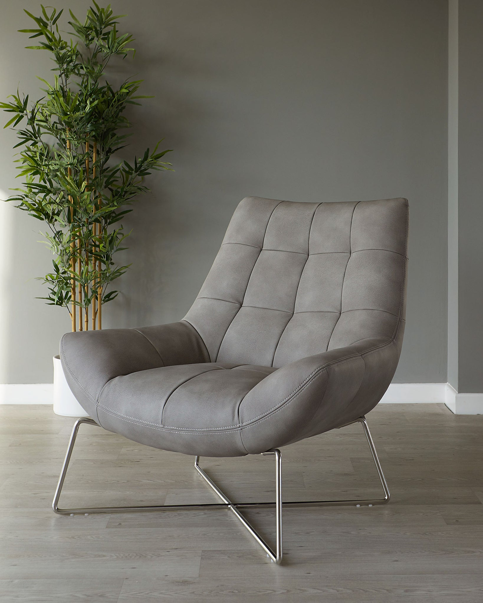 Canio Grey Faux Leather And Brushed Steel Occasional Chair
