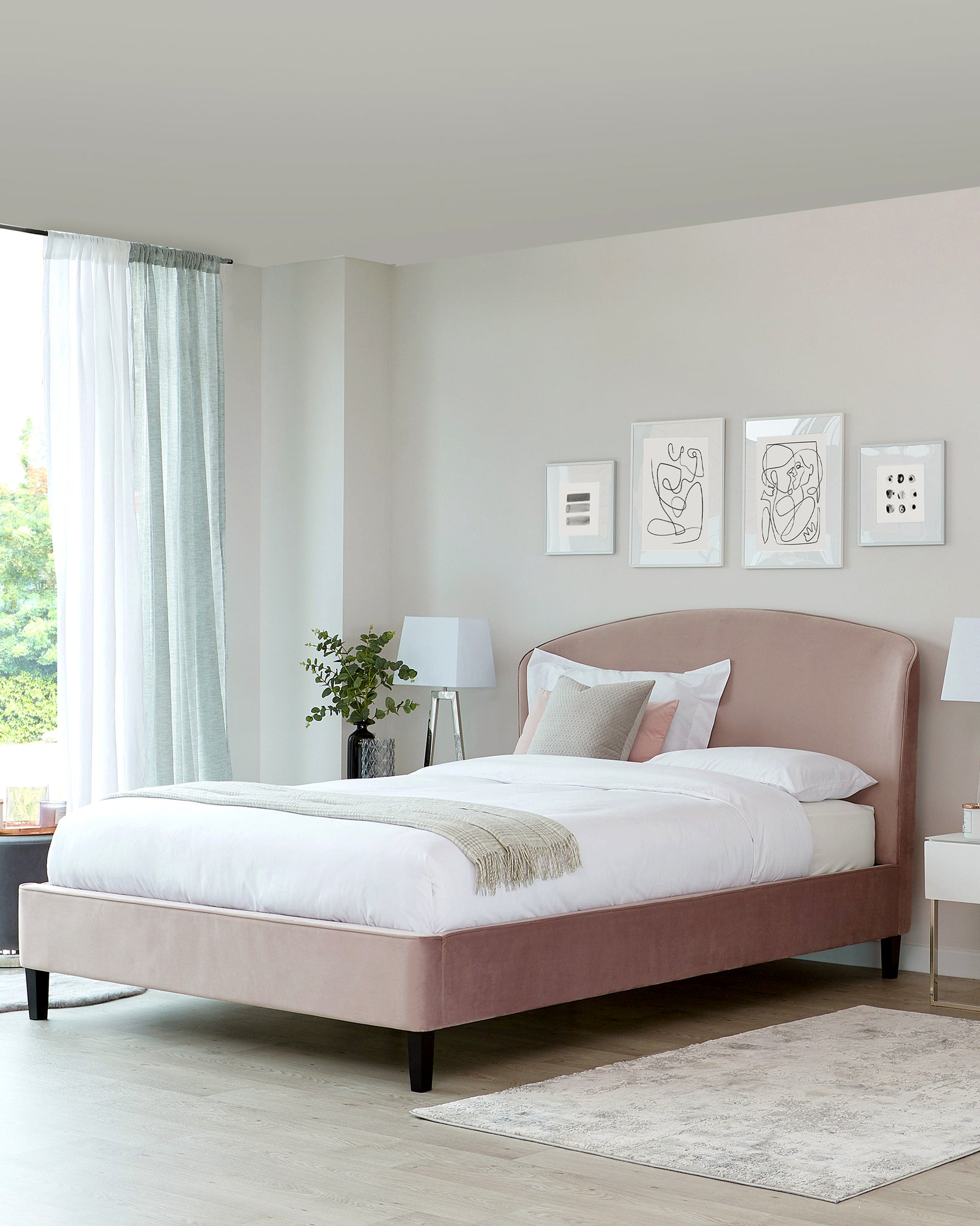 Carina Blush Pink Velvet King Size Bed