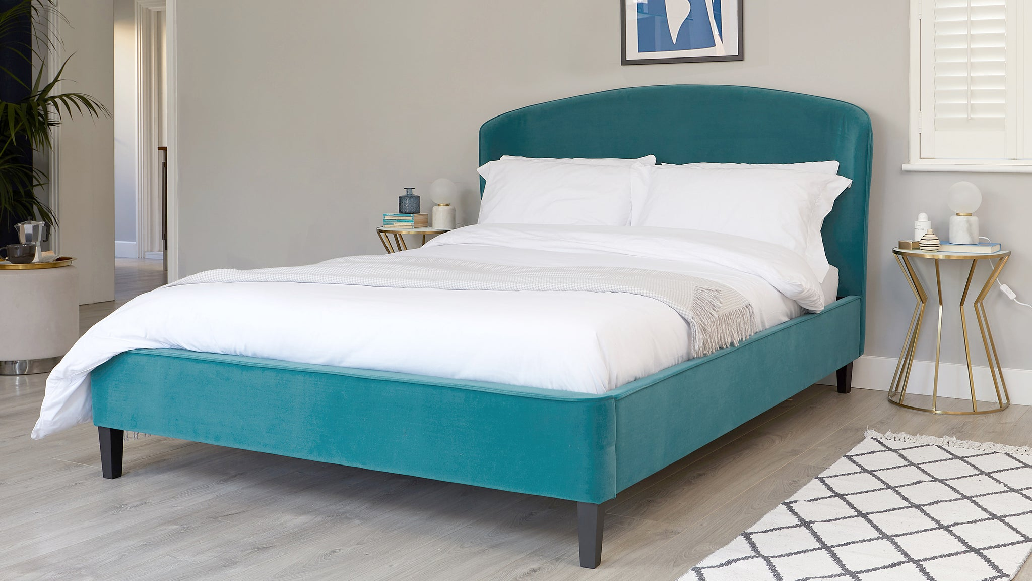 Carina Light Teal Velvet King Size Bed