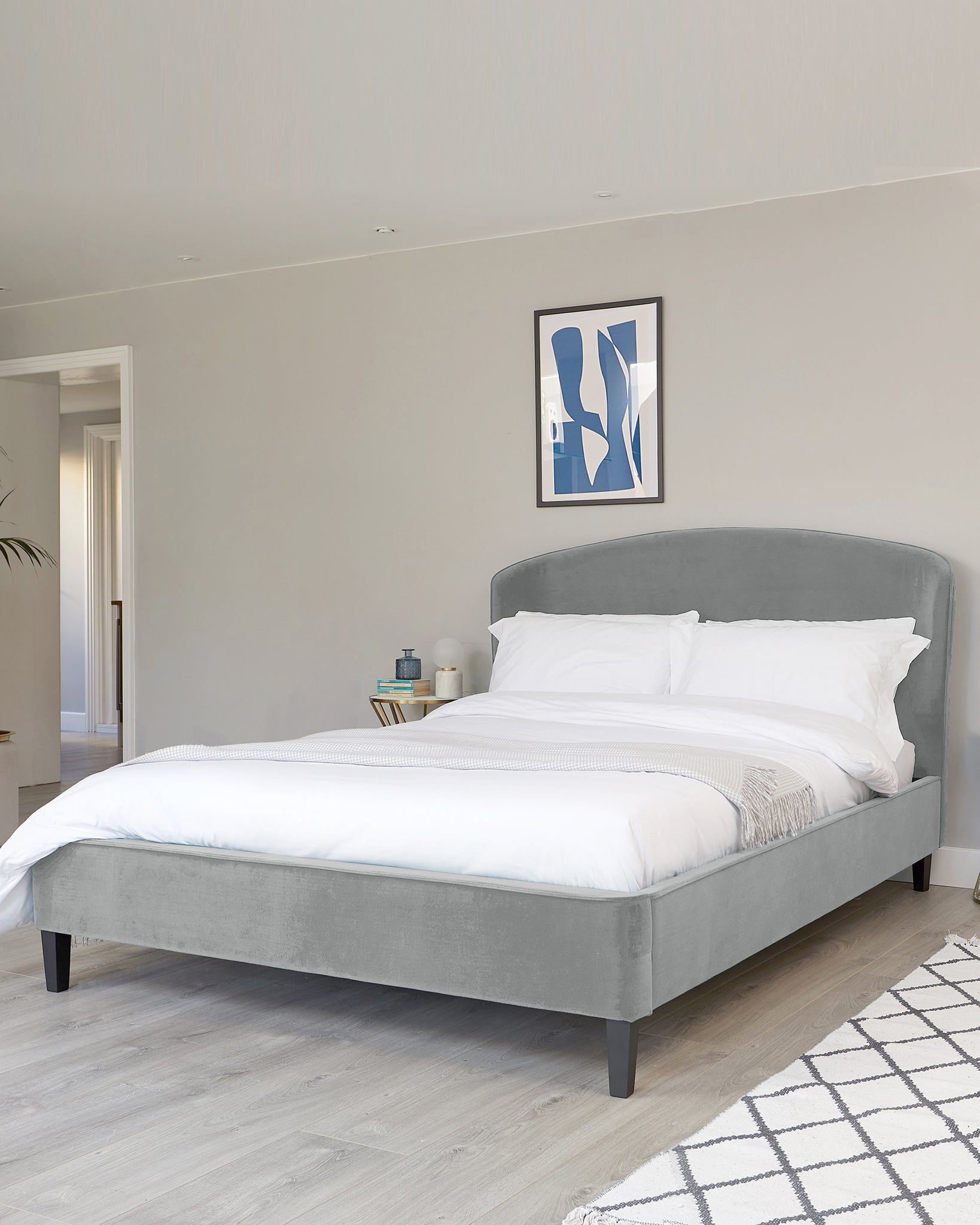 Carina Light Grey Velvet Double Bed