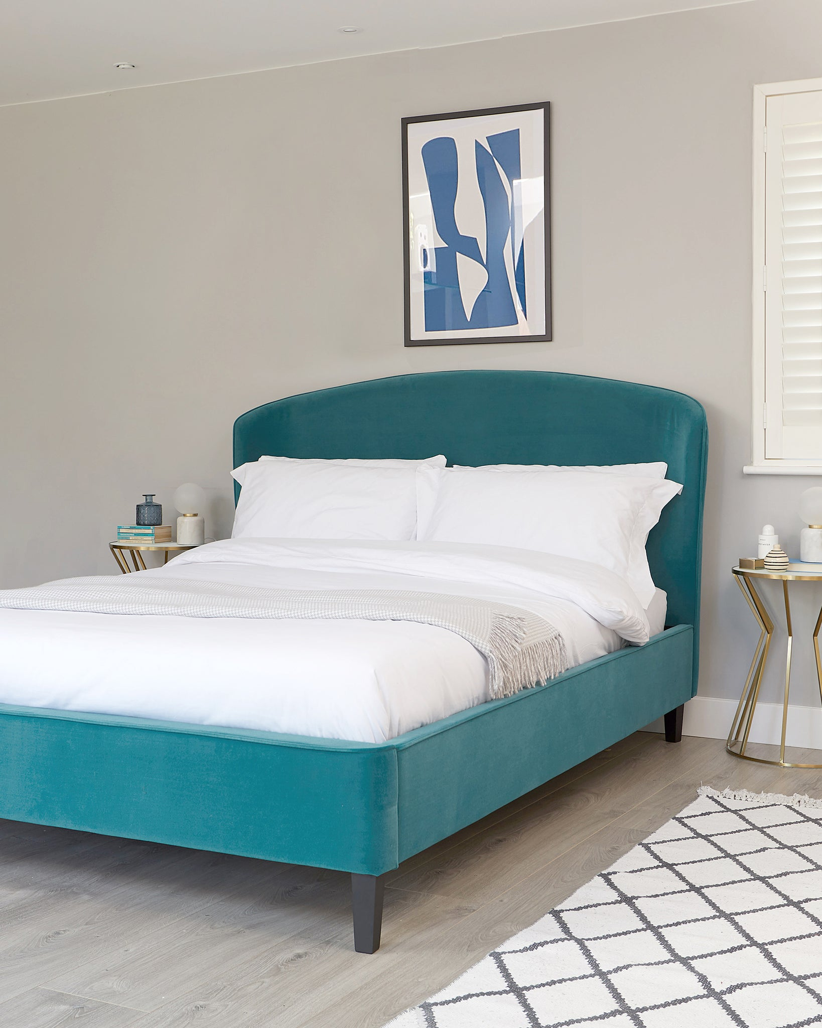 Carina Light Teal Velvet Double Bed