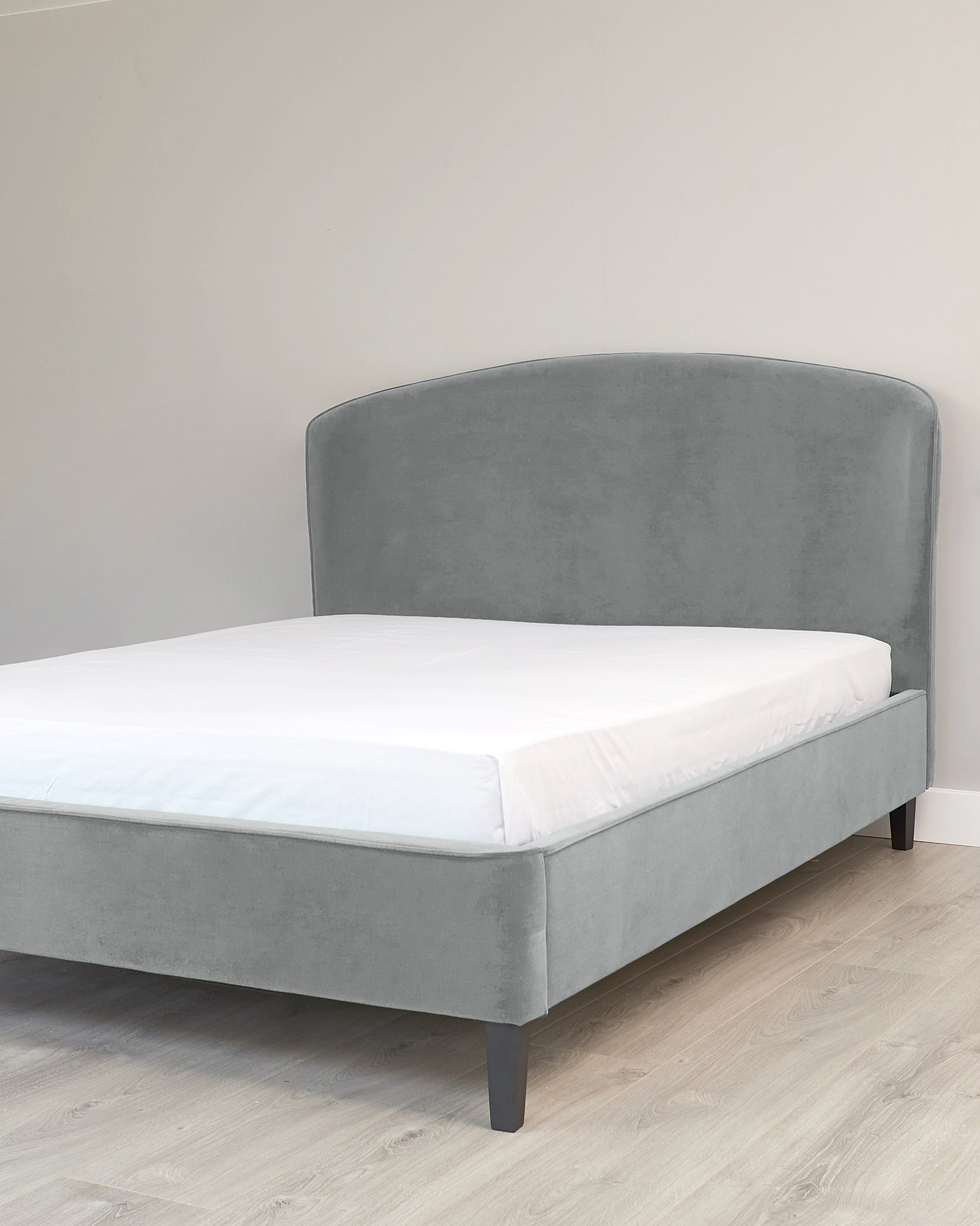 Carina Light Grey Velvet King Size Bed