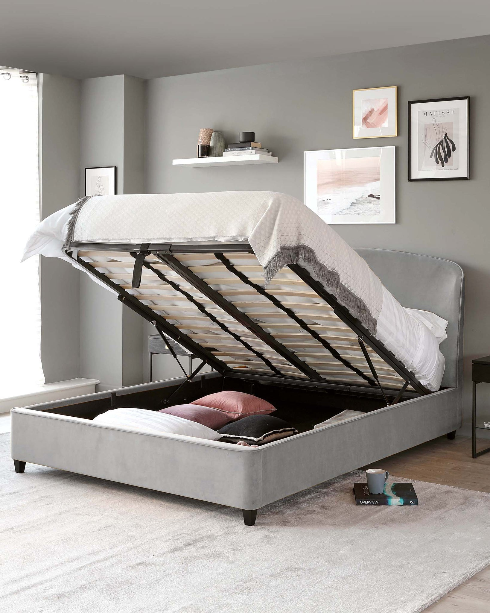Carina Light Grey Velvet King Size Bed with Storage