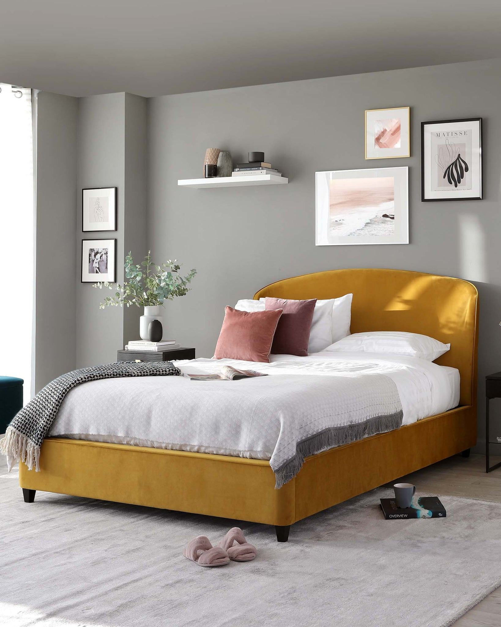Carina Mustard Yellow Velvet Double Bed with Storage