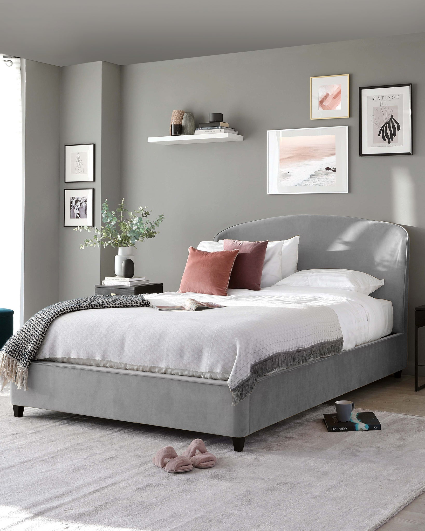 Carina Light Grey Velvet Double Bed with Storage