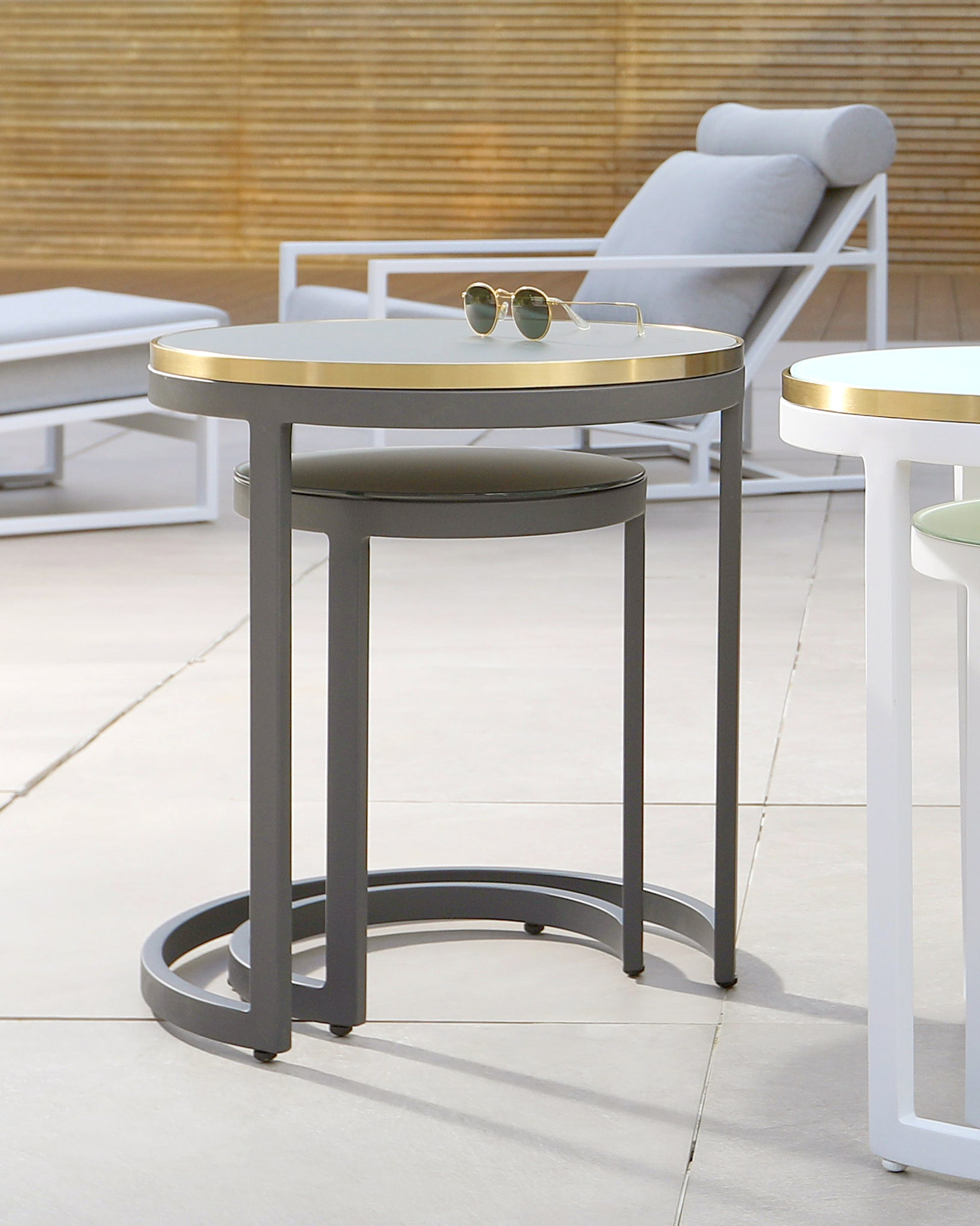 Cala Grey Frosted Glass Aluminium Garden Side Table Set