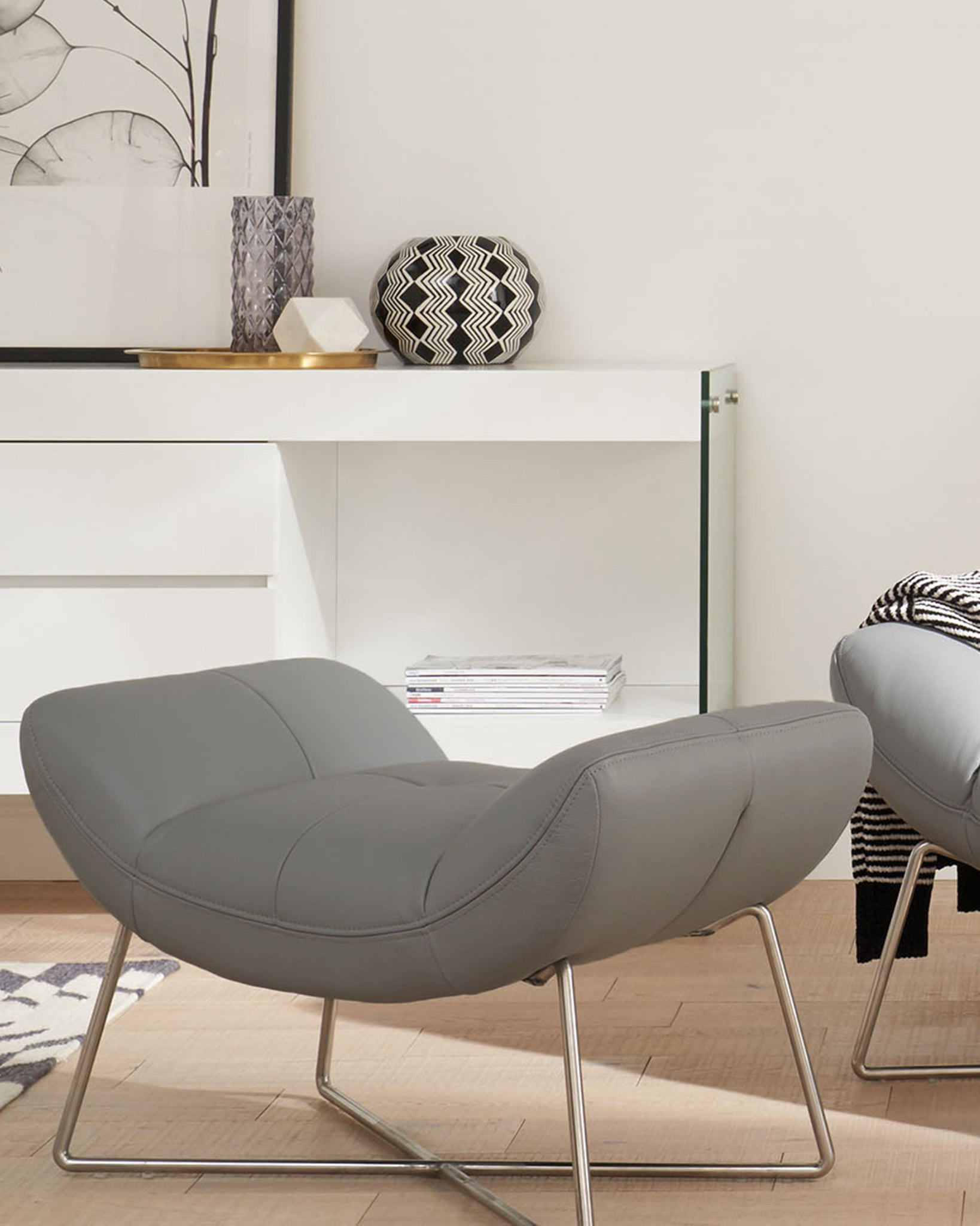 Canio Light Grey Leather And Brushed Steel Occasional Armchair
