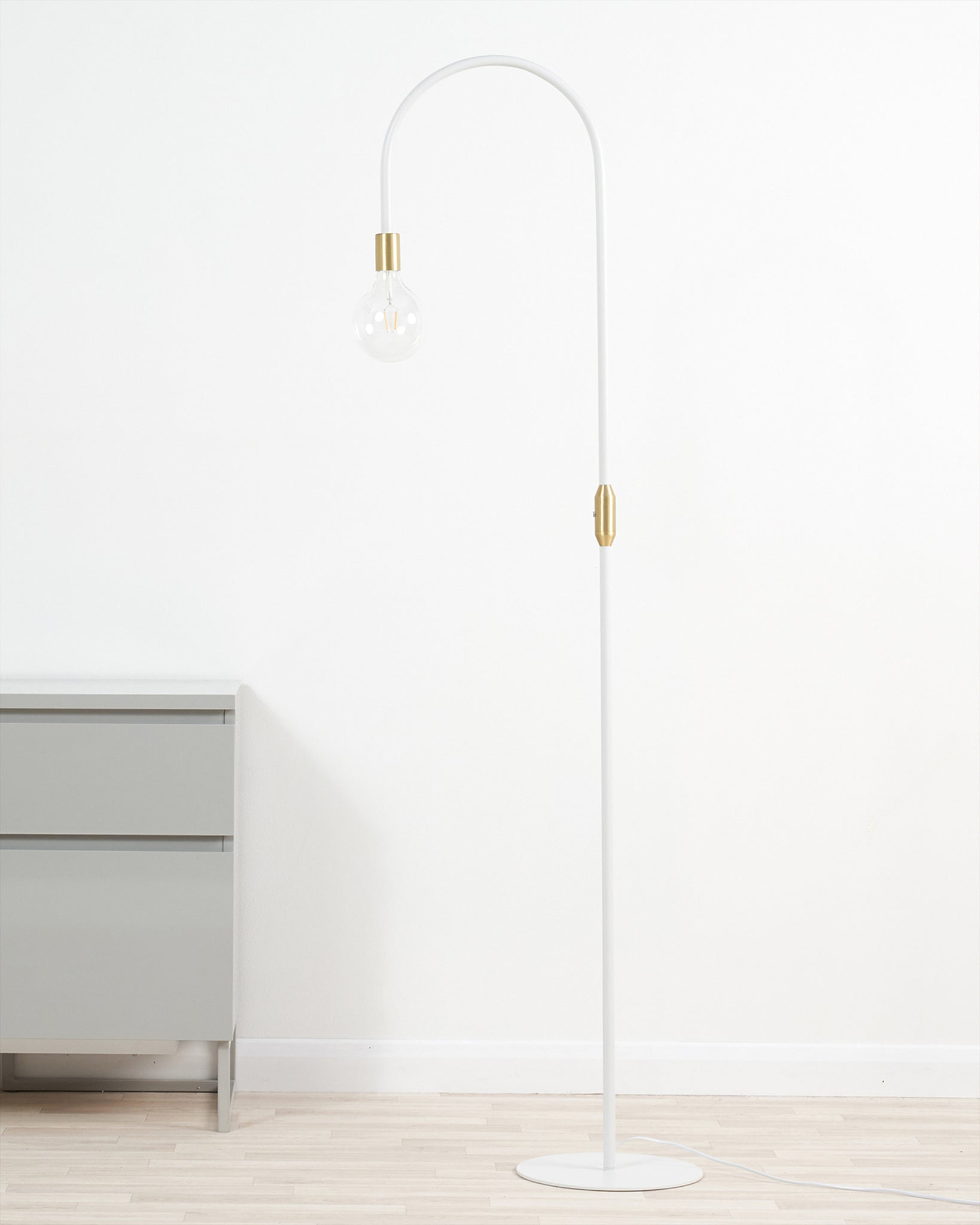 Carmel White And Brass Floor Lamp