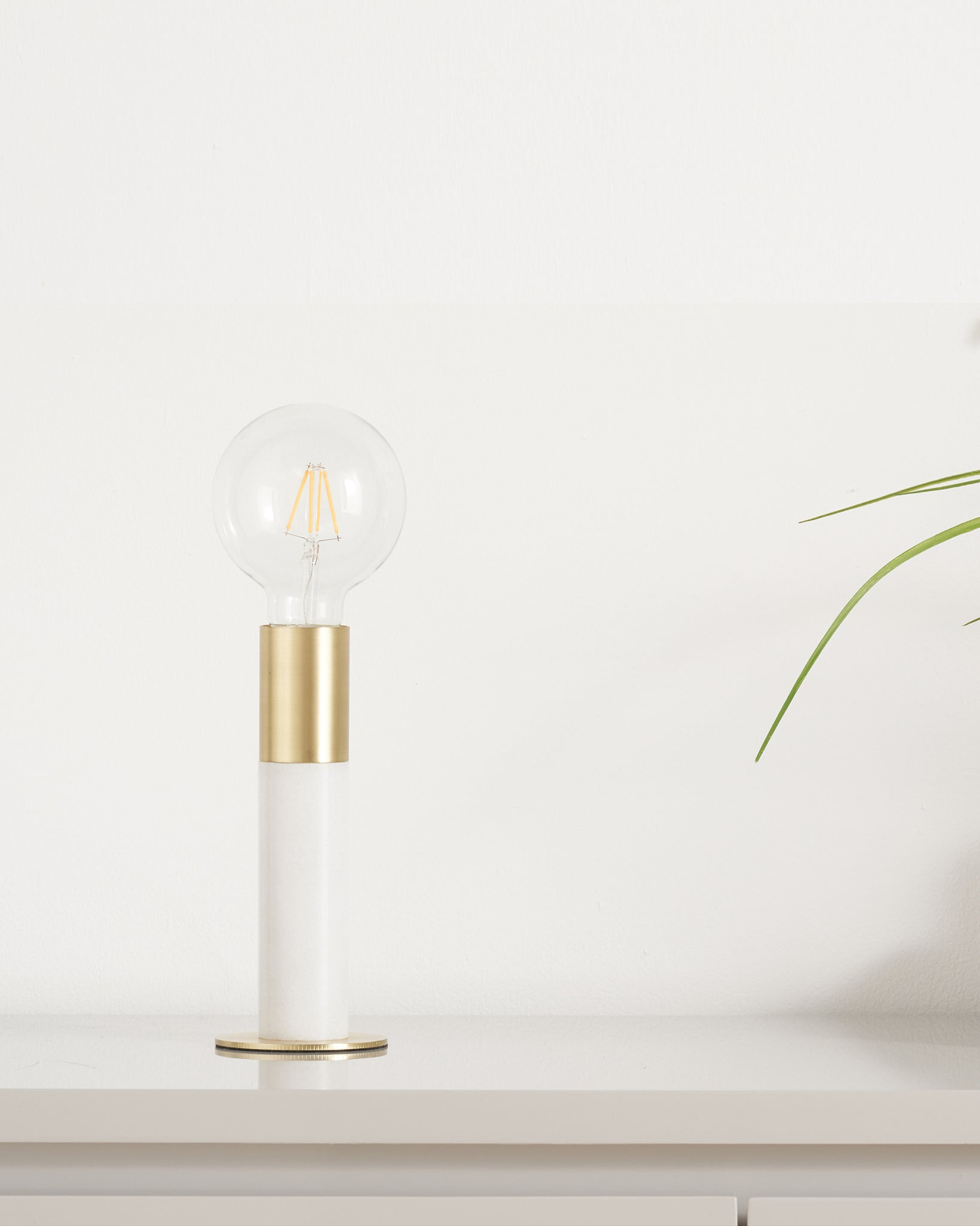 Teo White Marble And Brass Table Lamp