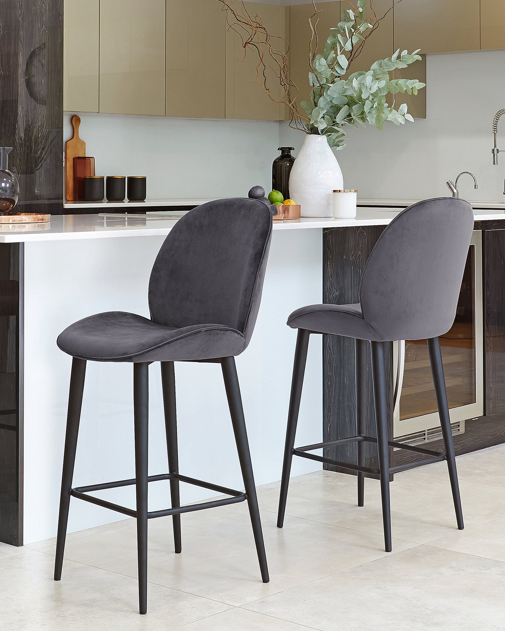 Clara Dark Grey Velvet Bar Stool