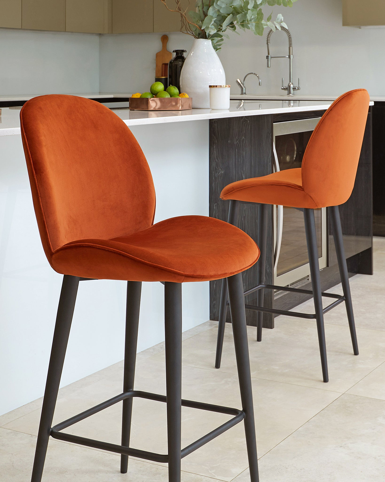 Clara Rust Velvet Bar Stool