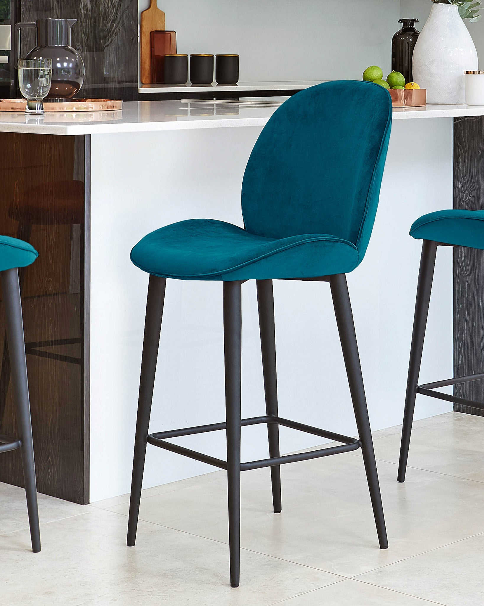 Clara Dark Teal Velvet Bar Stool