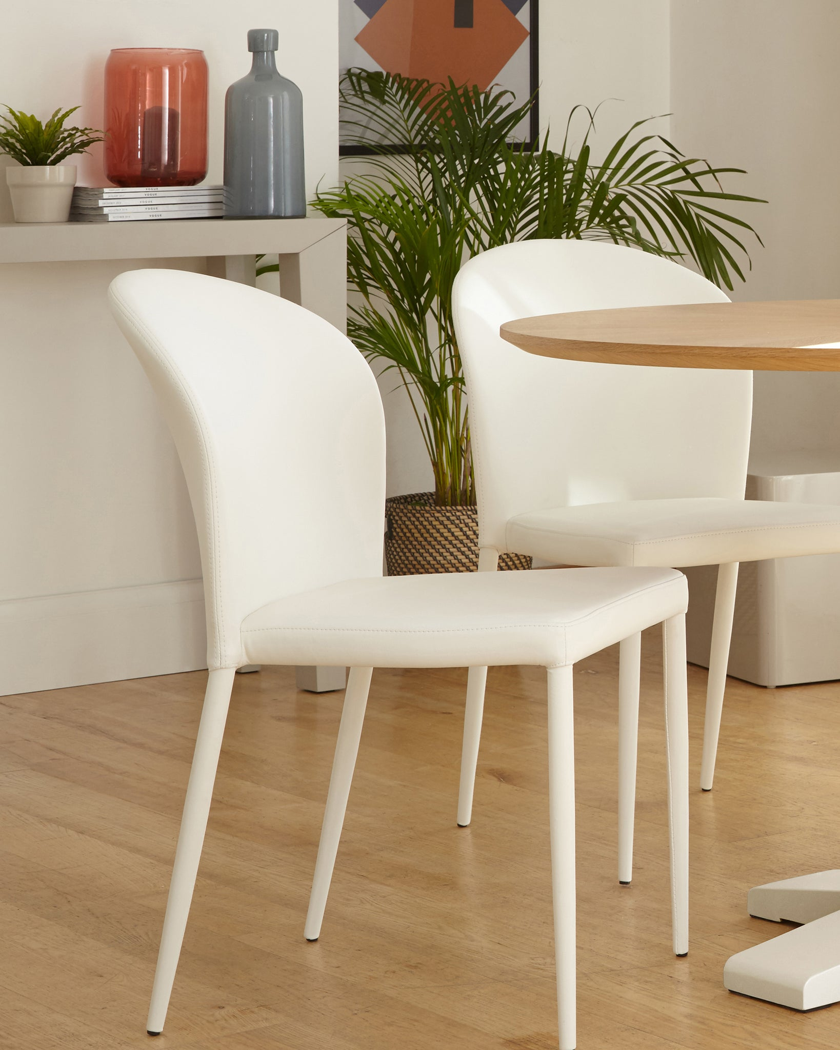 Santo Stackable White Faux Leather Dining Chair - Set Of 2