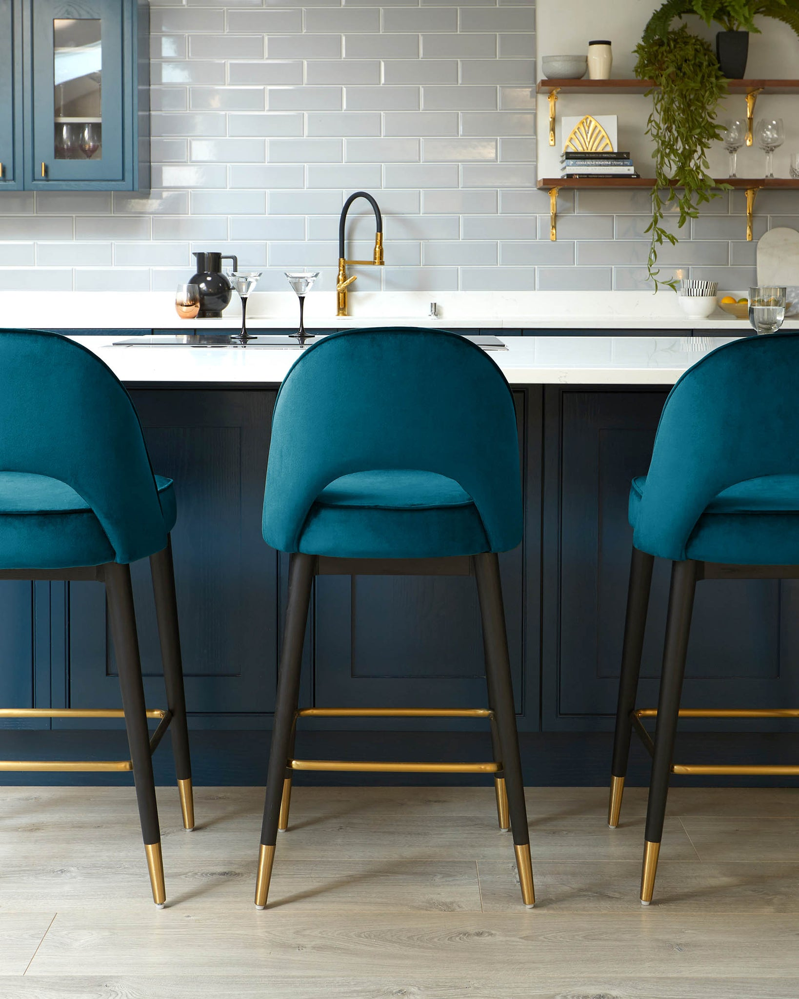 Clover Dark Teal Velvet Bar Stool