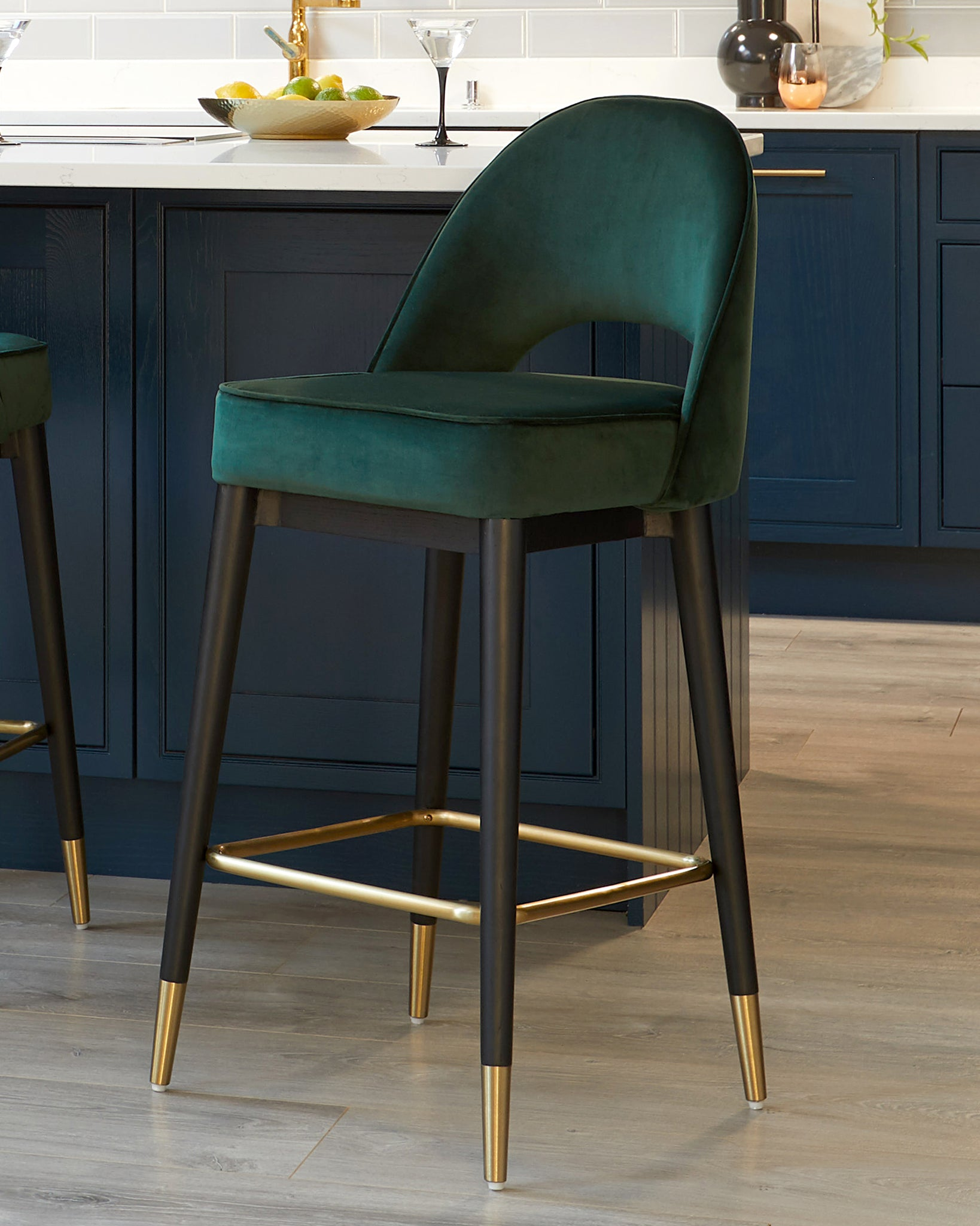 Clover Dark Green Velvet Bar Stool