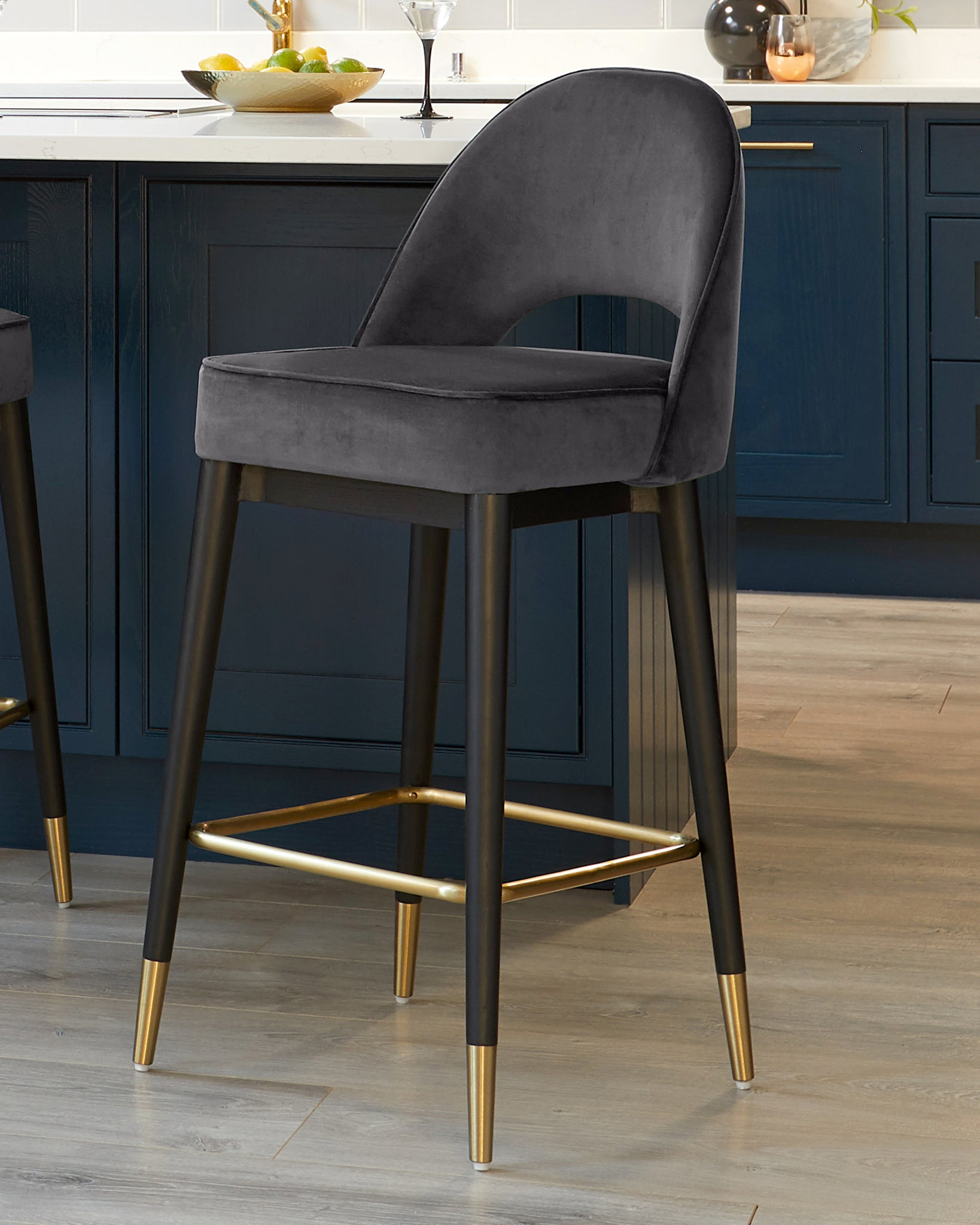 Clover Dark Grey Velvet Bar Stool