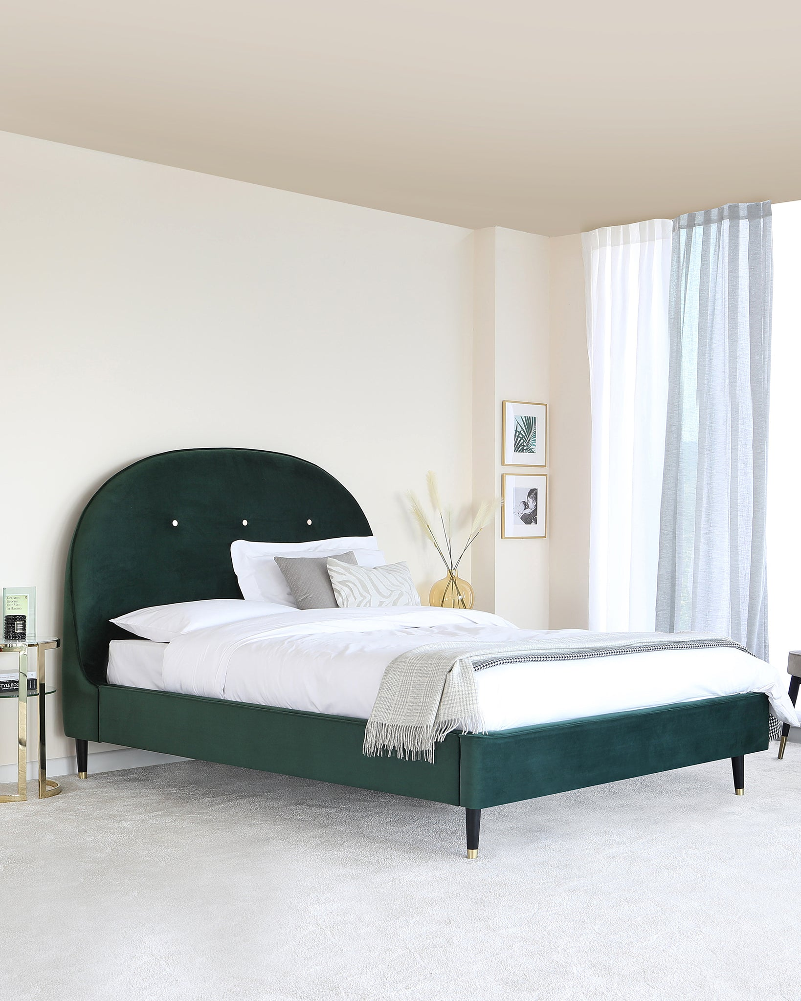 Clover Dark Green Velvet With Brass Capped Leg King Size Bed