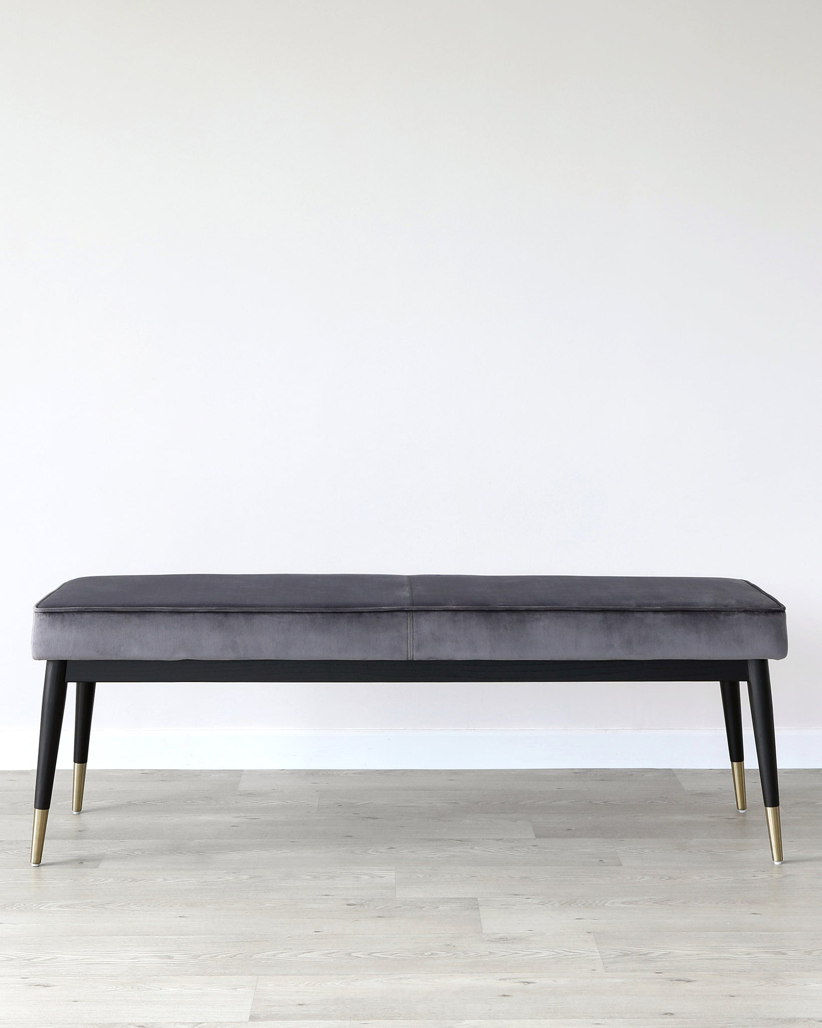 Clover Dark Grey Velvet Dining Bench Without Backrest