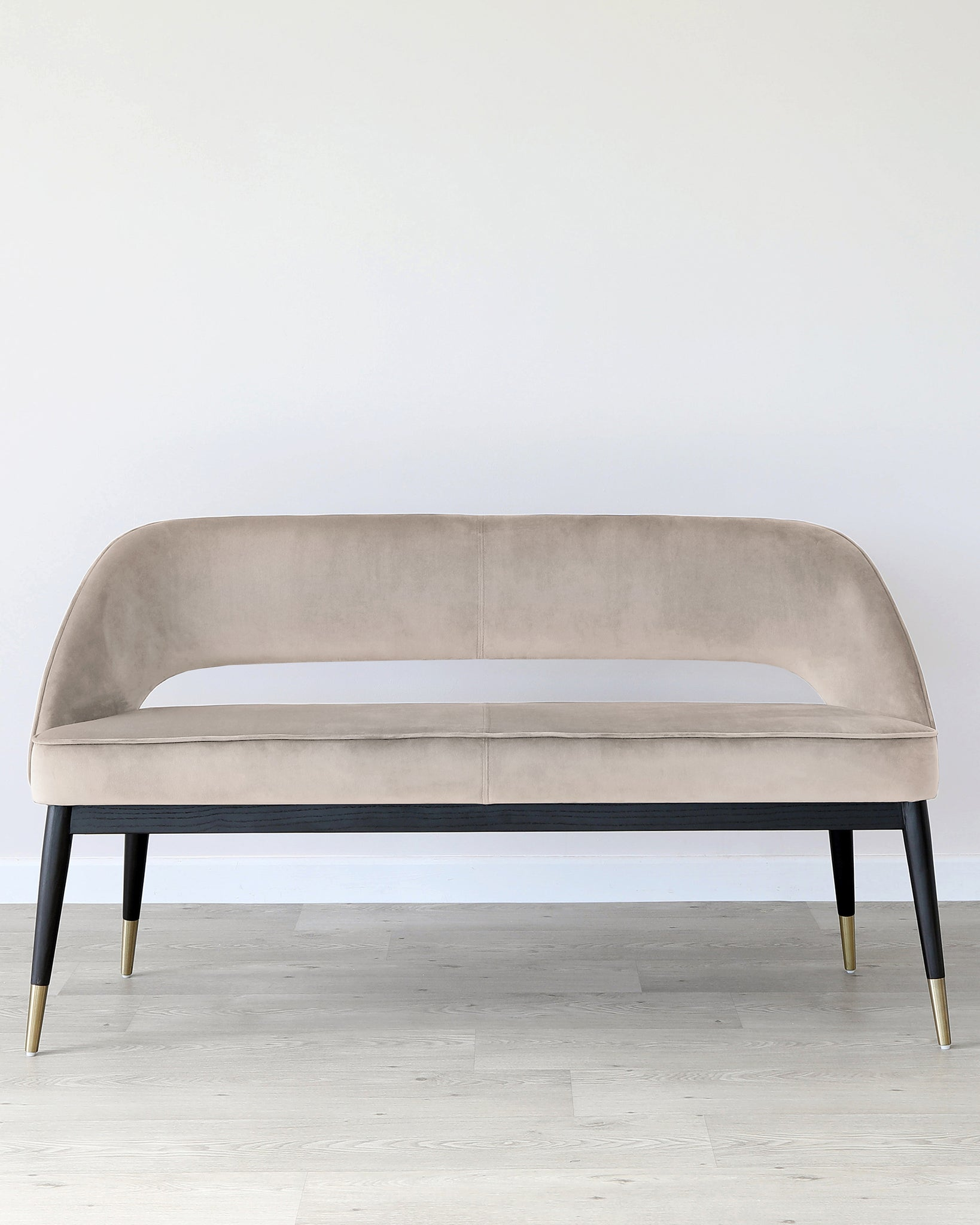 Clover Champagne Velvet Dining Bench With Backrest