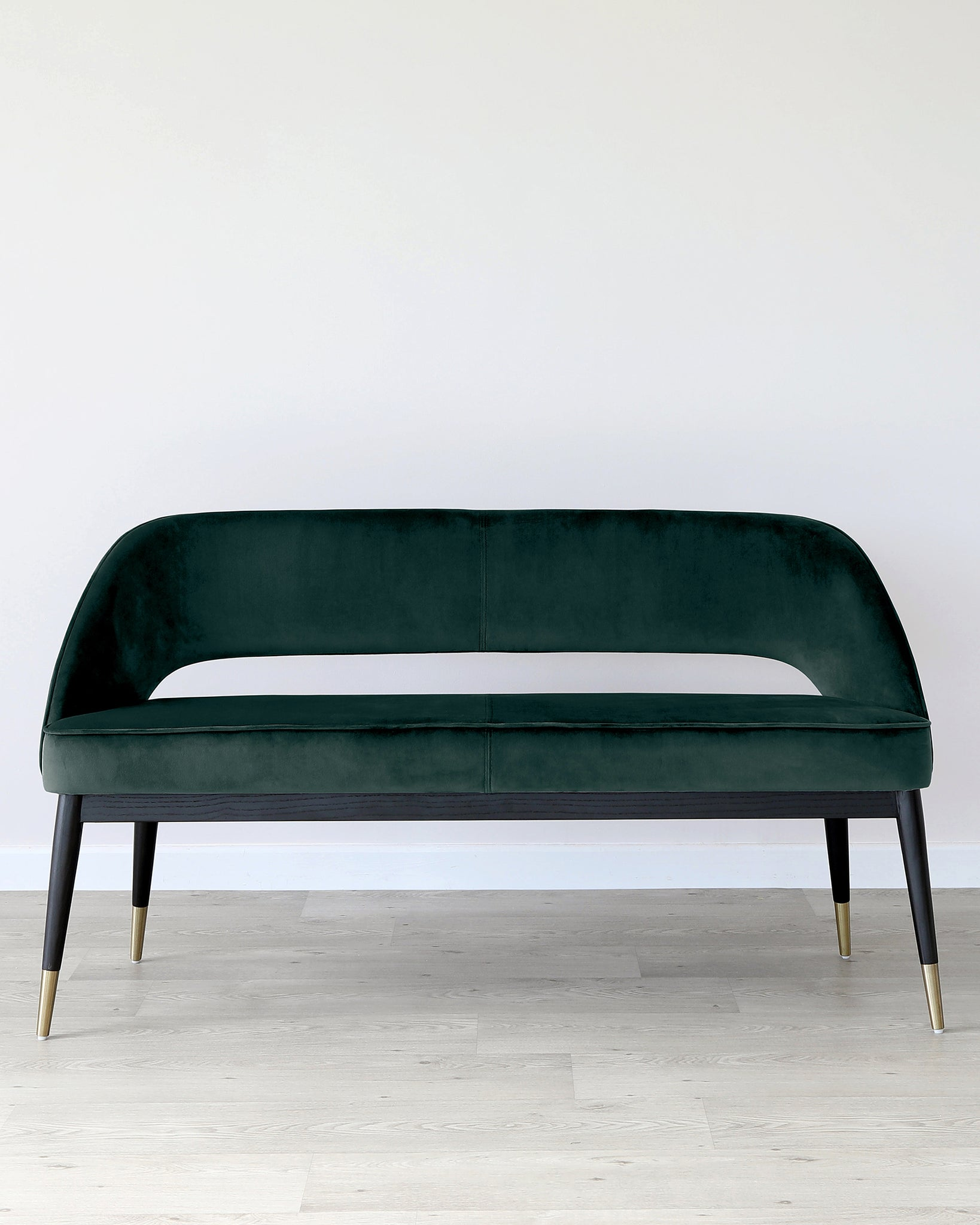 Clover Dark Green Velvet Dining Bench With Backrest