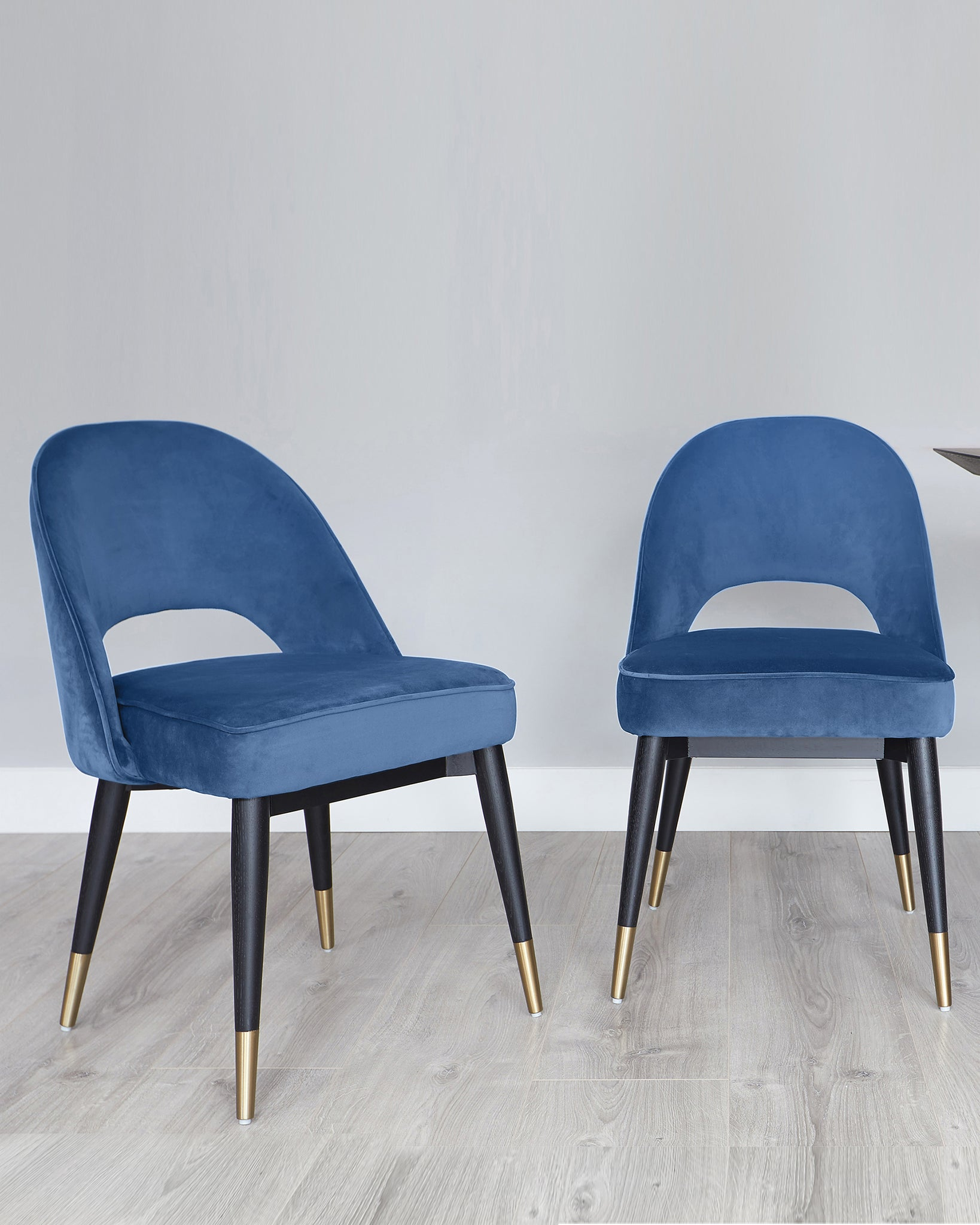 Clover Dark Blue Velvet Dining Chair - Set Of 2