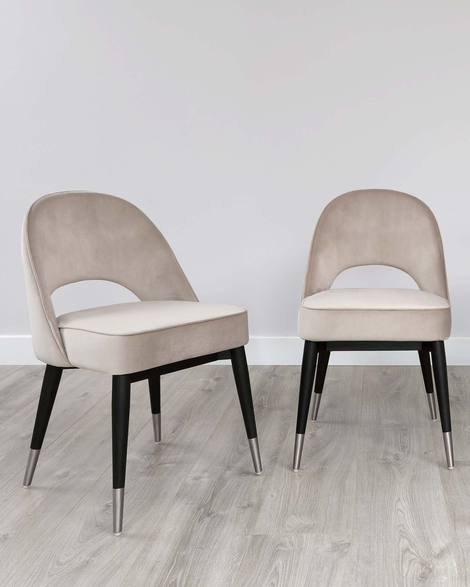 Clover Champagne Velvet Dining Chair With Stainless Steel Caps - Set Of 2