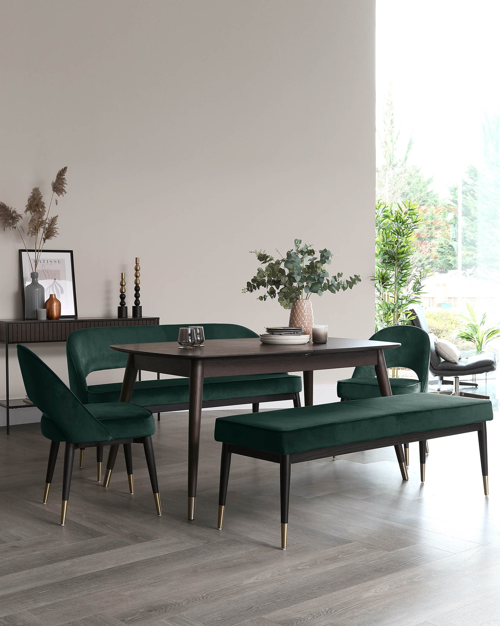 Clover Dark Green Velvet Dining Bench Without Backrest