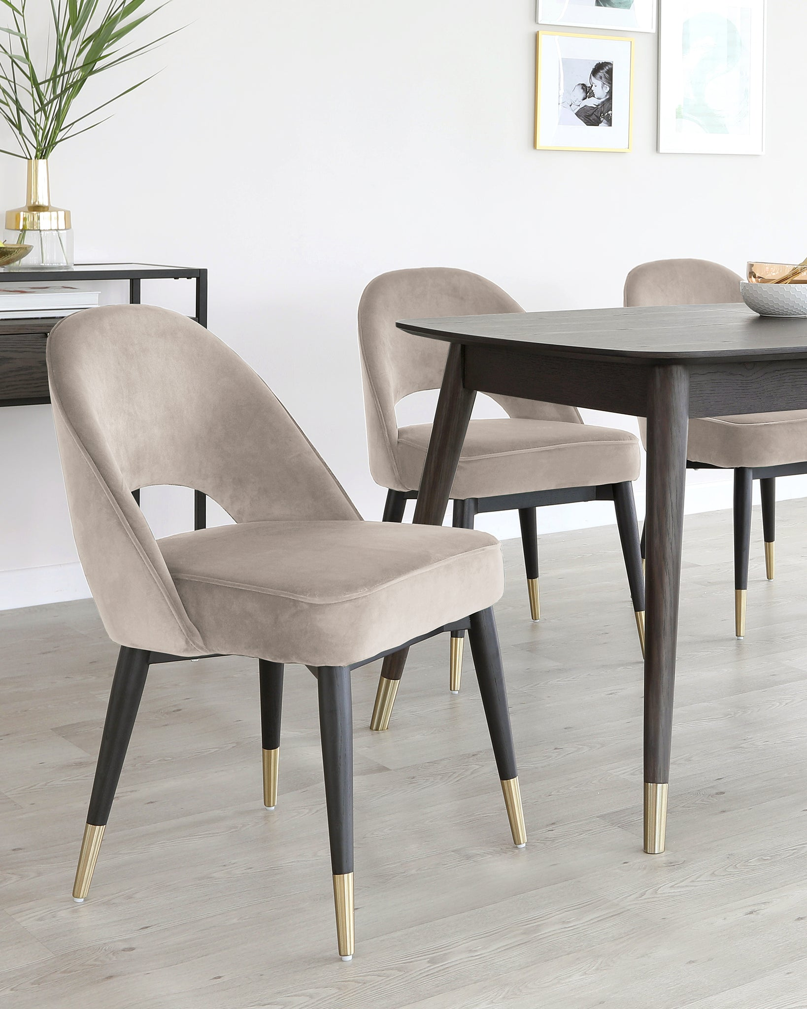 Clover Champagne Velvet Dining Chair - Set Of 2