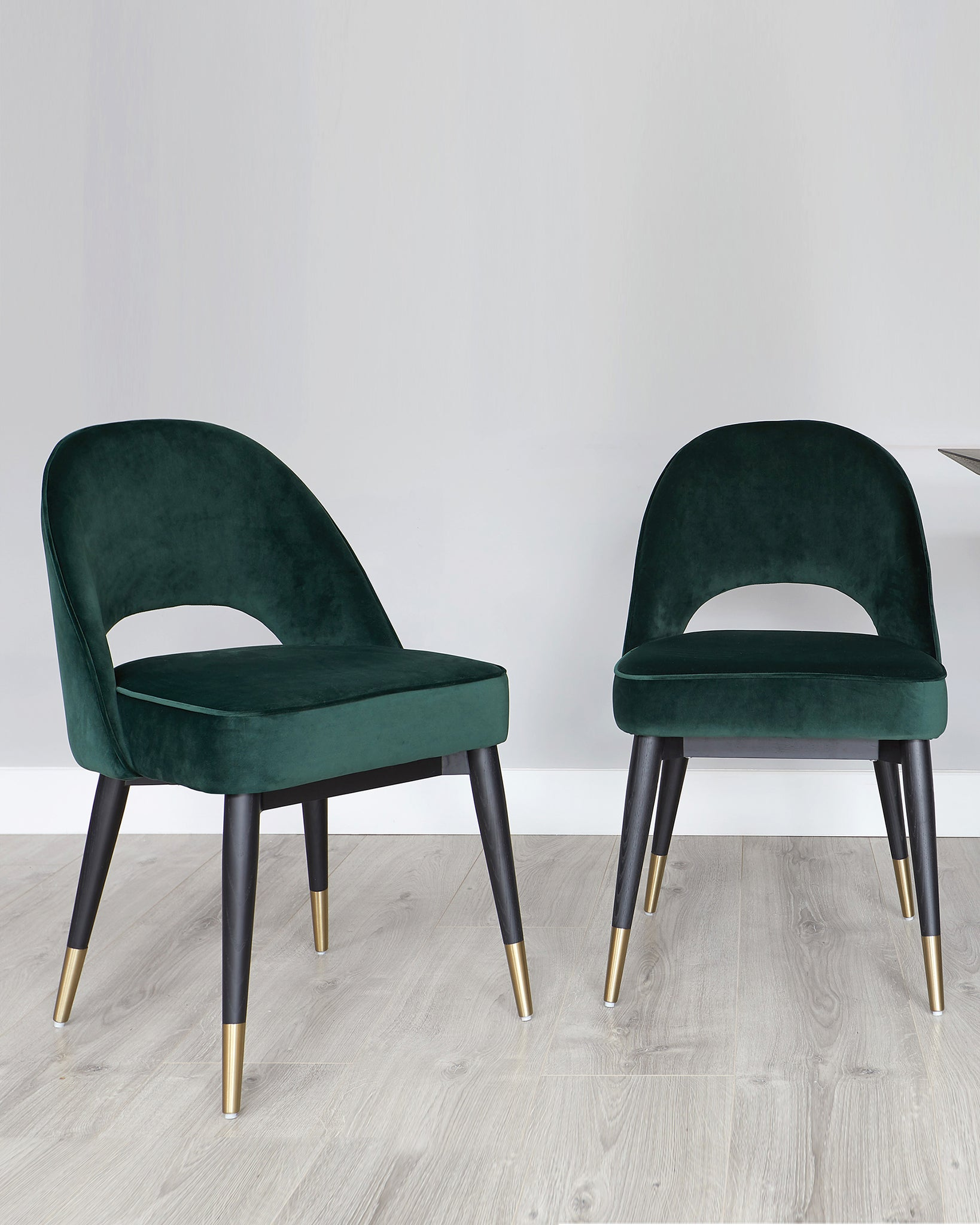 Nala Dark Oak And Fern Green Clover Velvet Chair Set