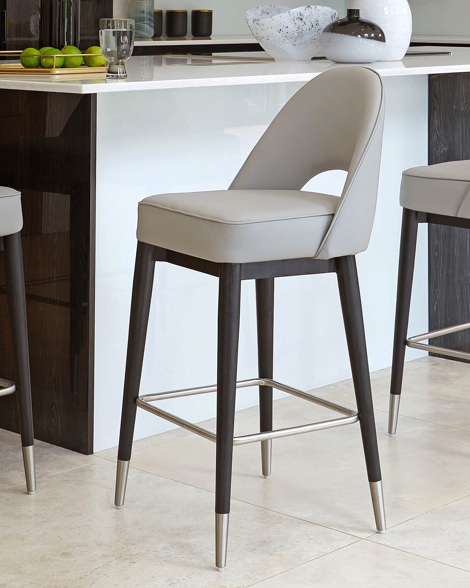Picture of: Clover Mid Grey Faux Leather Bar Stool Danetti Uk