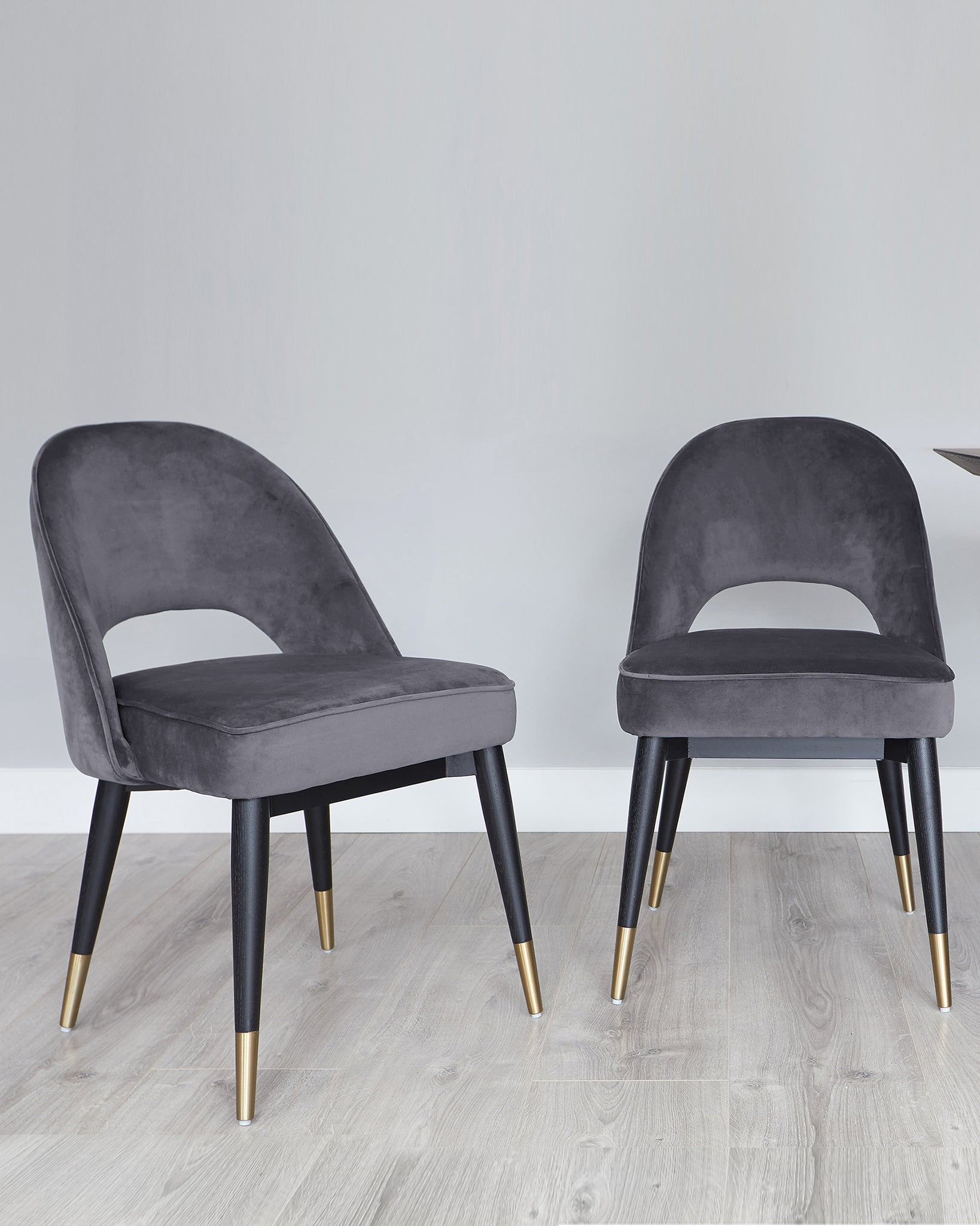 Clover Dark Grey Velvet Dining Chair - Set Of 2