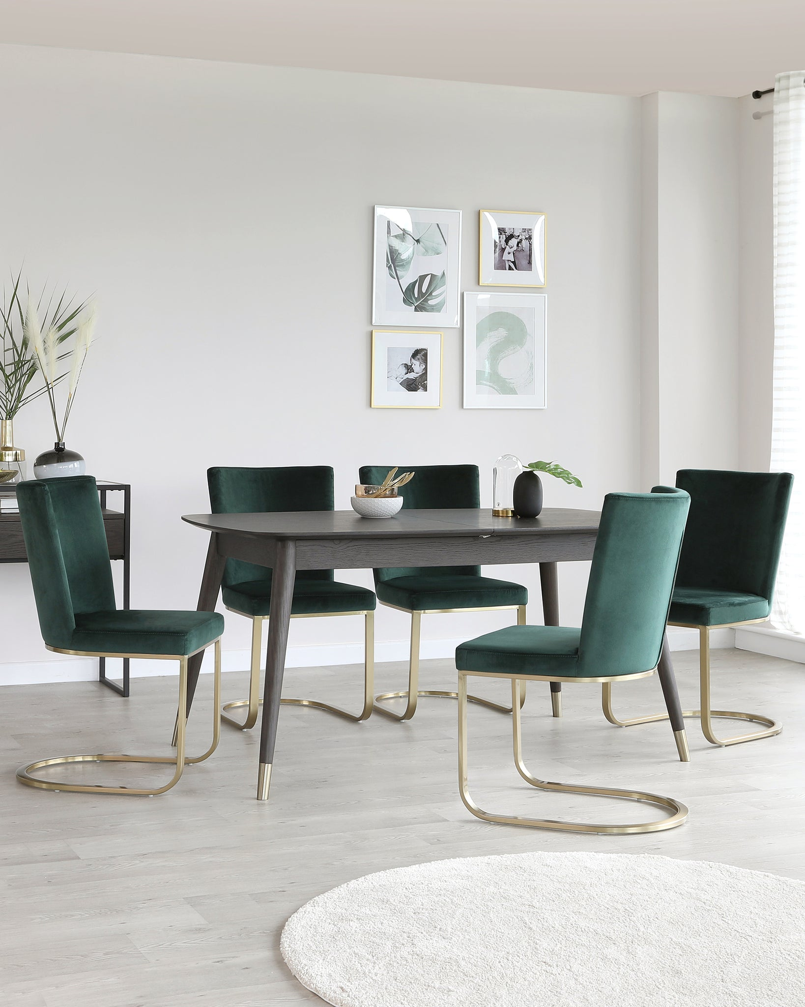 Clover Dark Oak And Form Dark Green Extending Dining Set