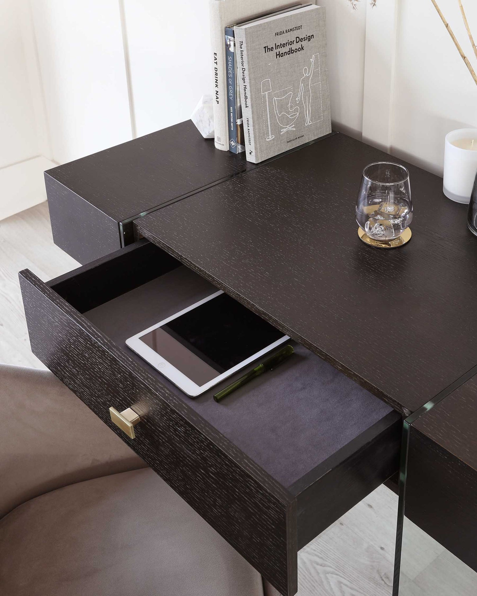 Cohen Dark Oak And Glass Desk