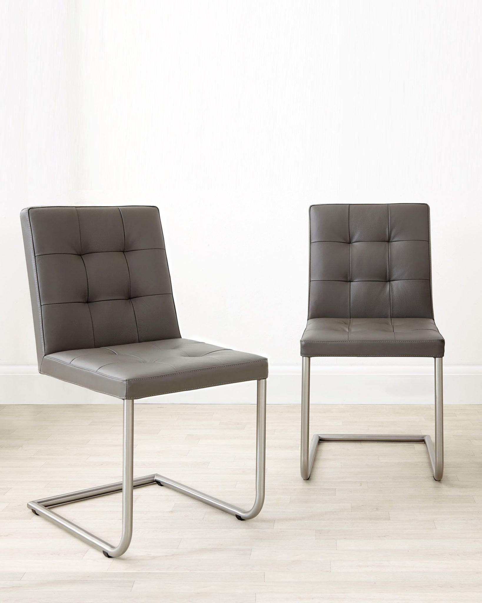 Danni Real Leather Dark Grey Dining Chair - Set Of 2