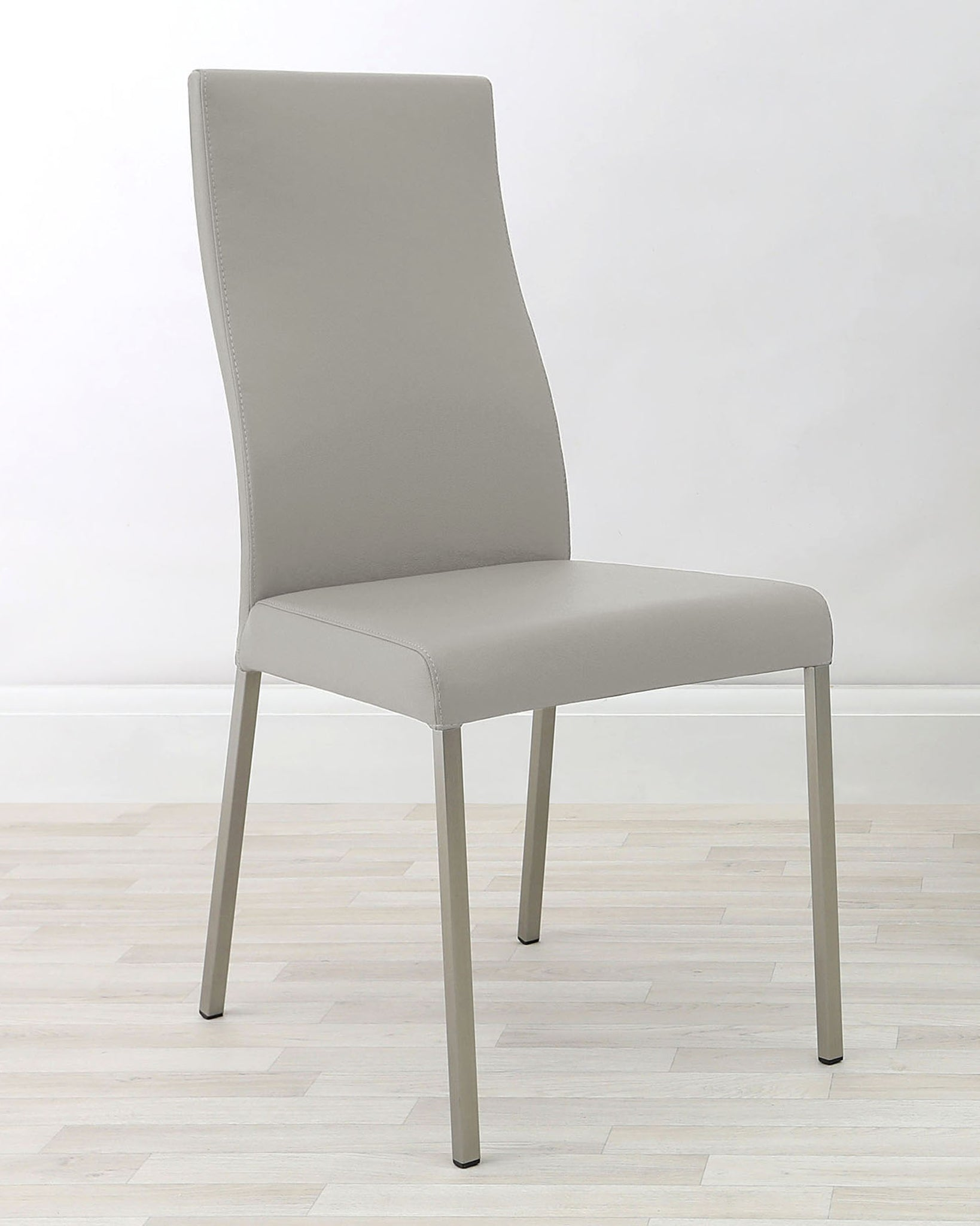 Iva Real Leather Light Grey Dining Chair - Set Of 2