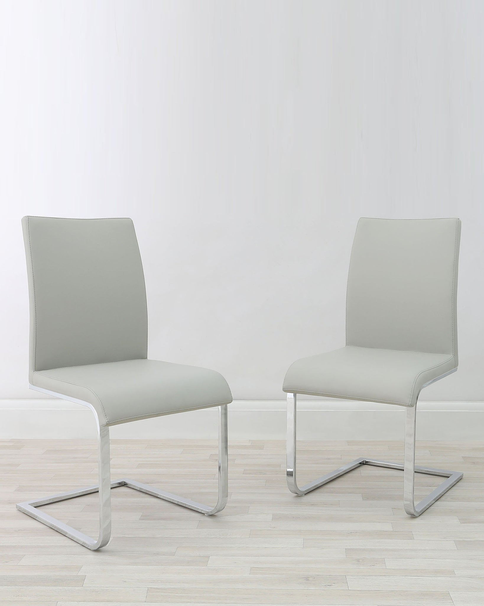 Verona Cantilever Light Grey Faux Leather Chair - Set Of 2