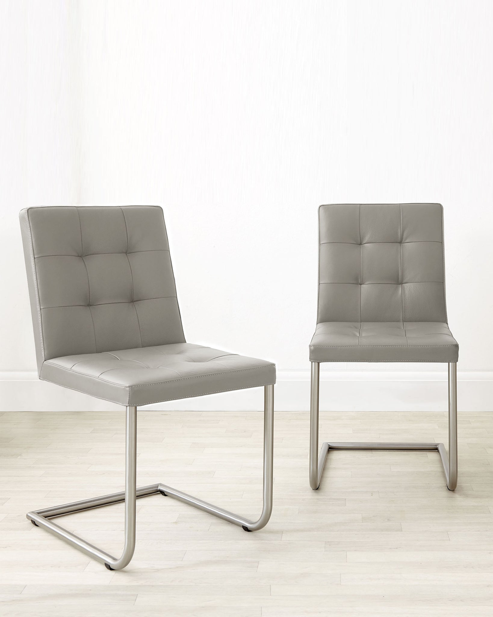 Danni Real Leather Light Grey Dining Chair - Set Of 2