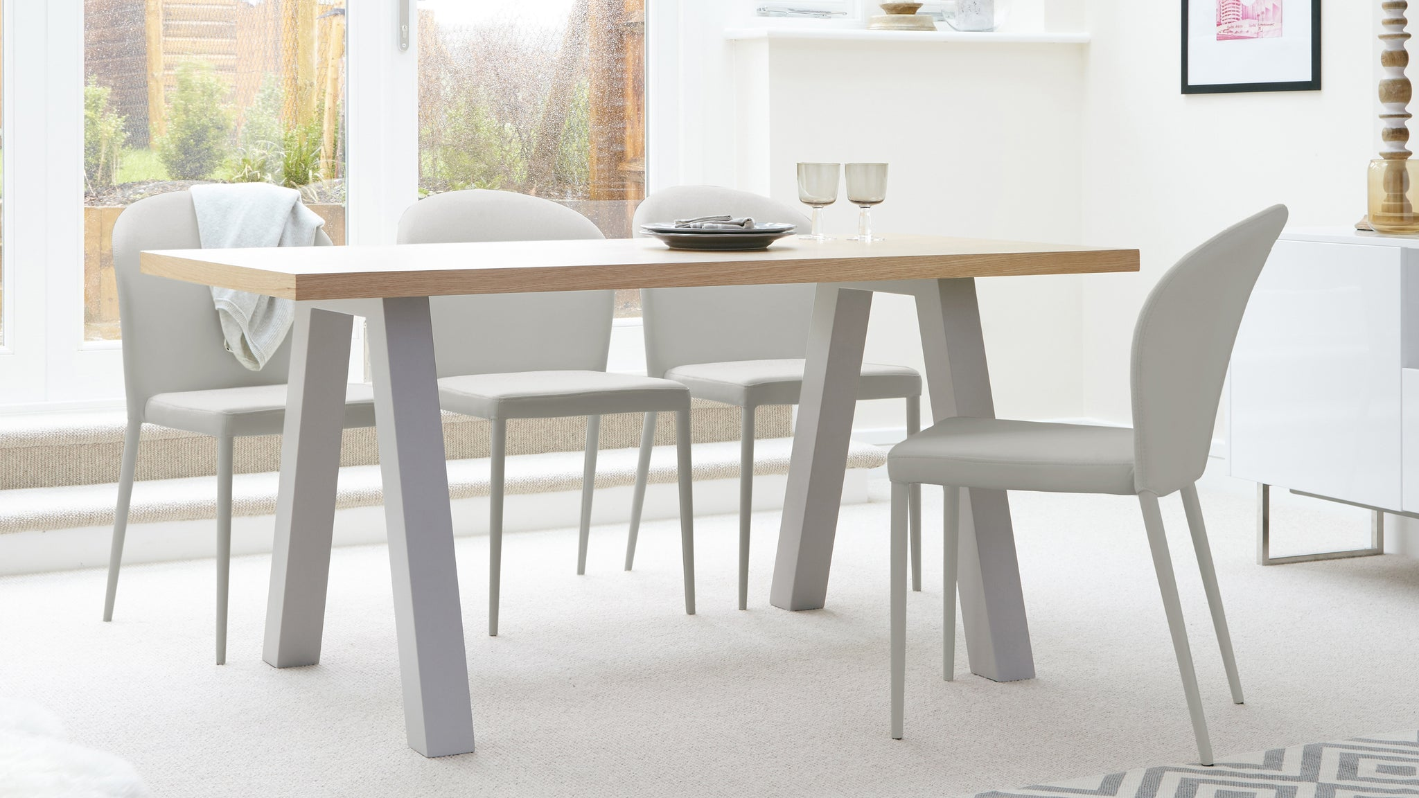 Zen Oak And Santo Stackable 6 Seater Dining Set