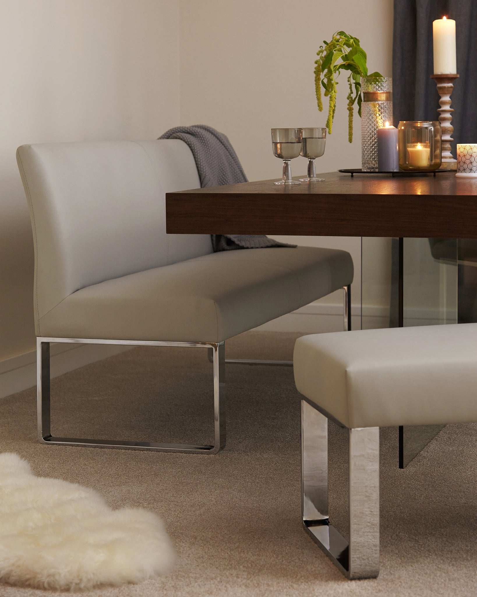 Loop 3 Seater Light Grey Faux Leather & Chrome Bench Without Backrest