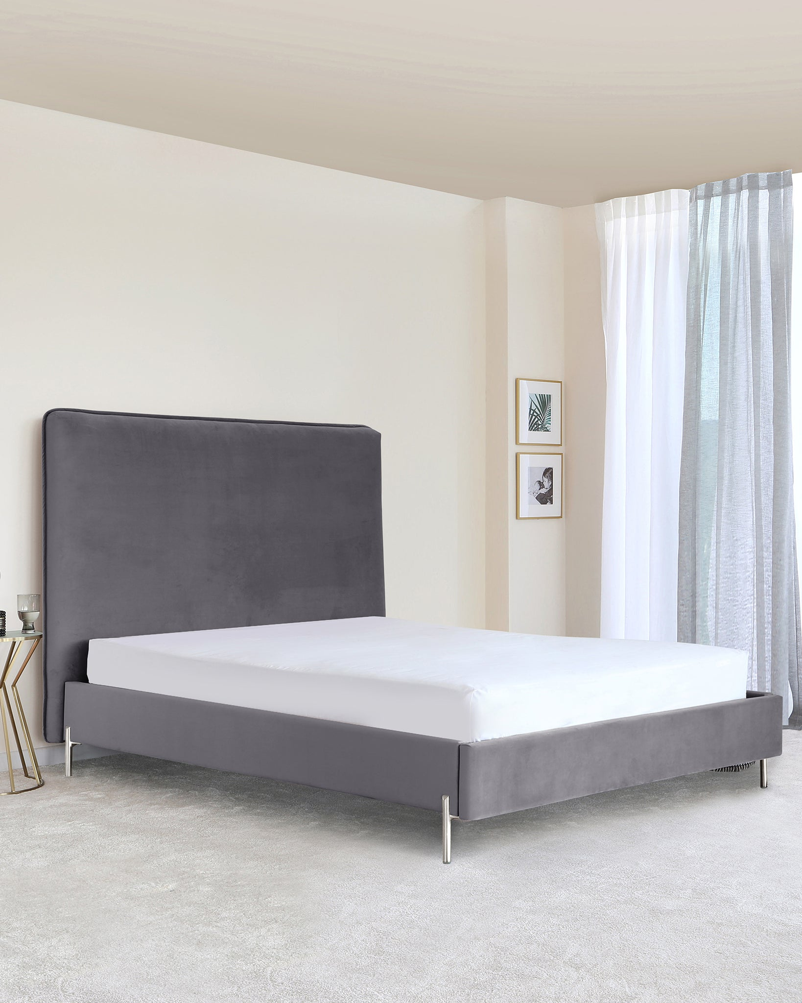 Darcy Grey Velvet Double Bed