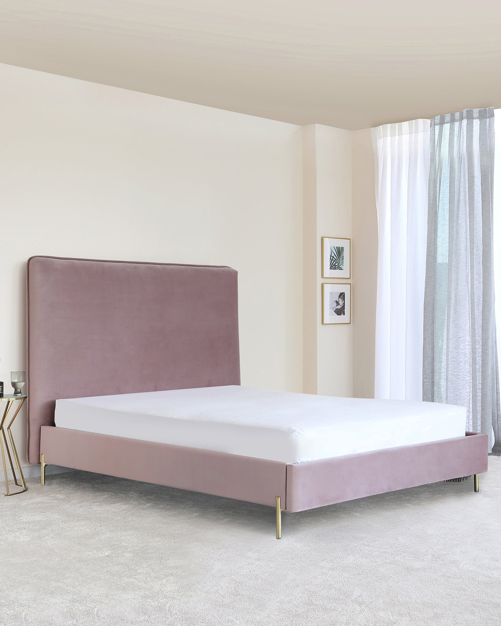 Darcy Blush Pink Velvet Double Bed