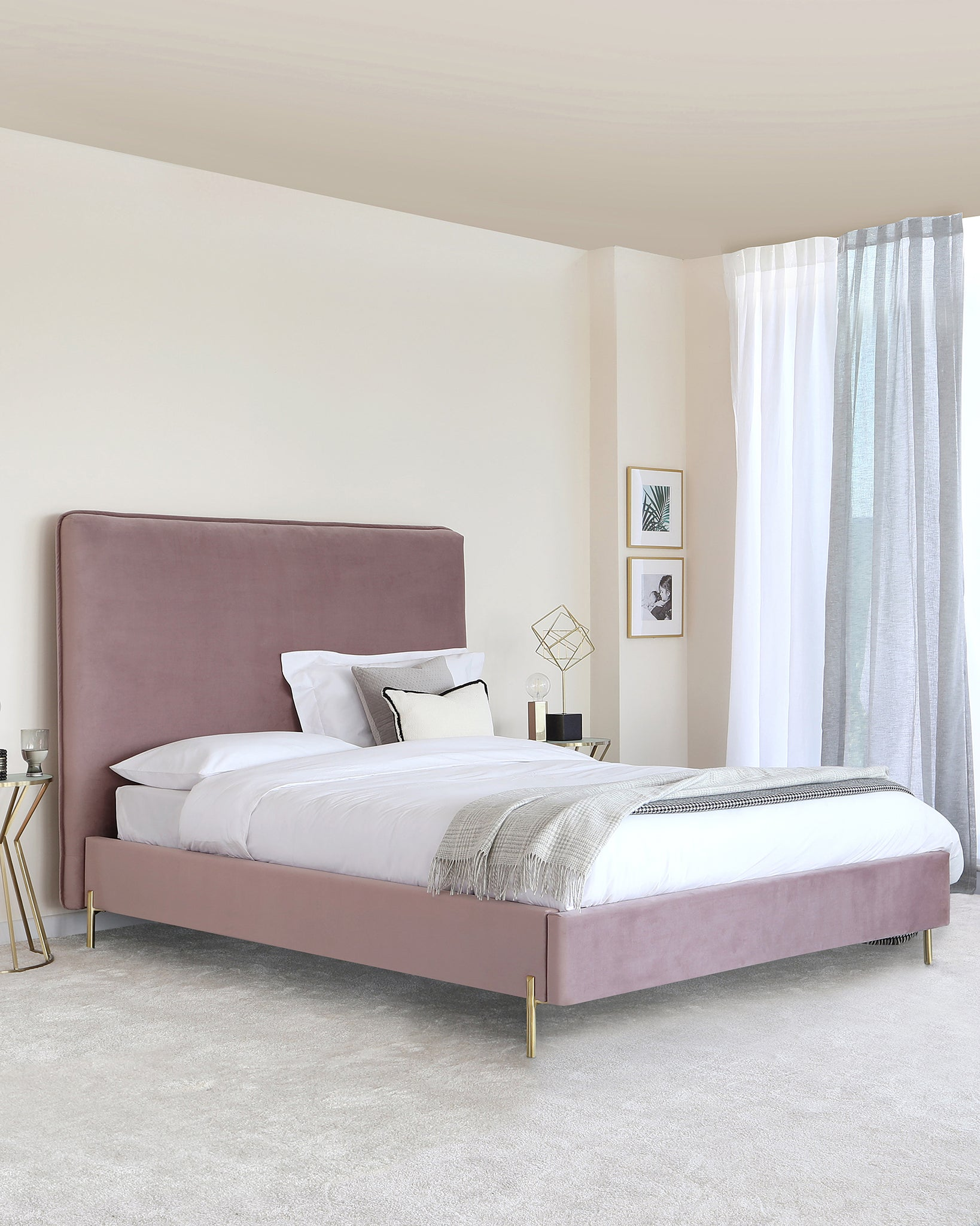 Darcy Blush Pink Velvet With Brass Leg King Size Bed
