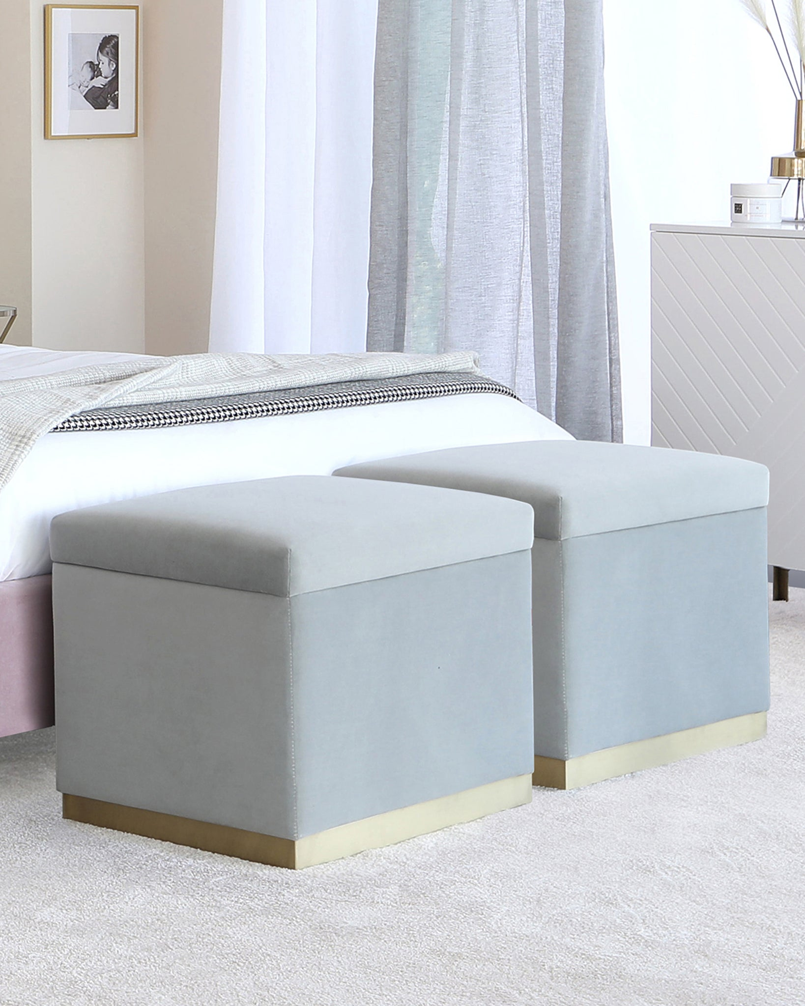 Zara Light Grey Velvet With Brass Trim Ottoman Storage Cube