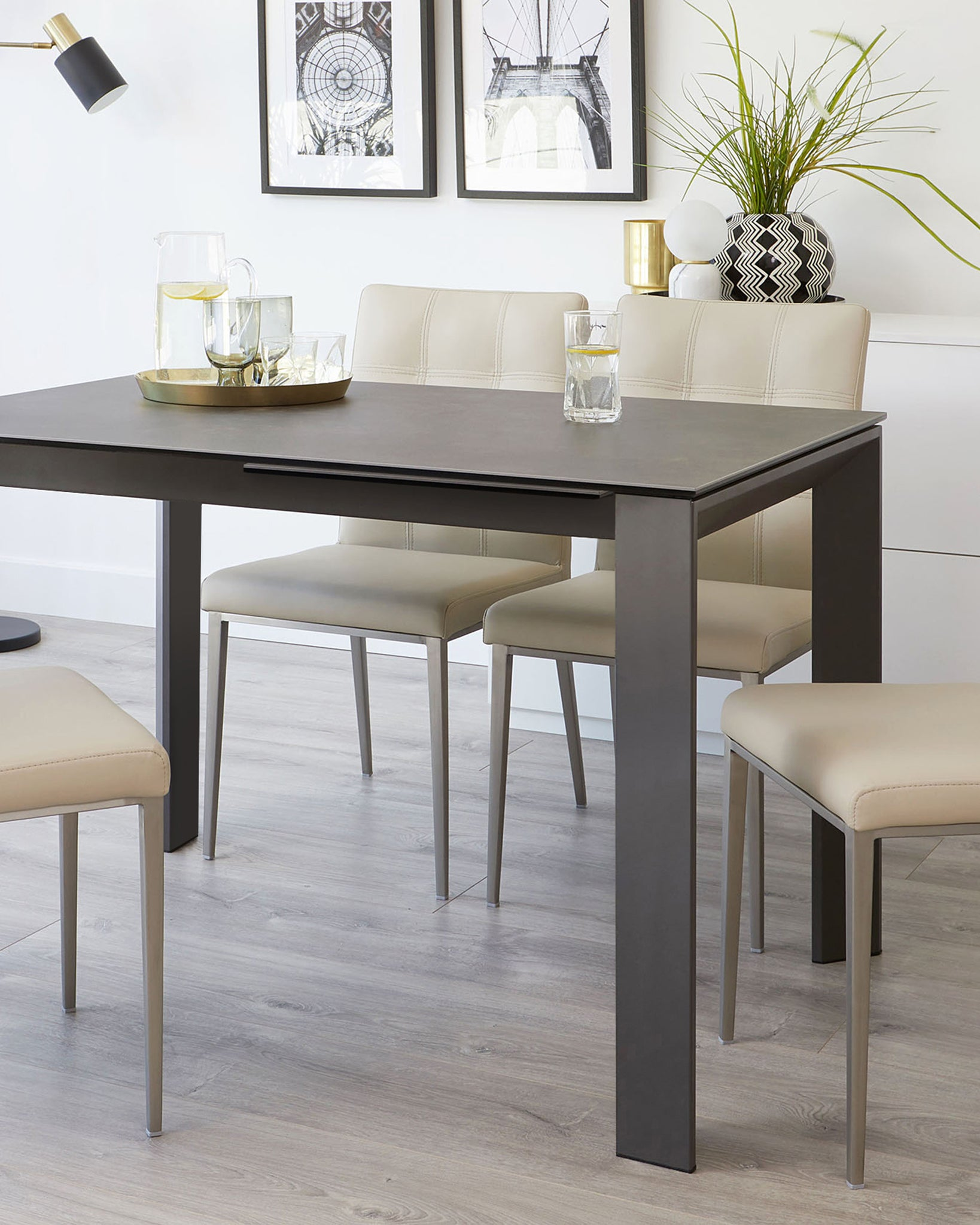 Louis Dark Grey Ceramic And Moda Extending Dining Set