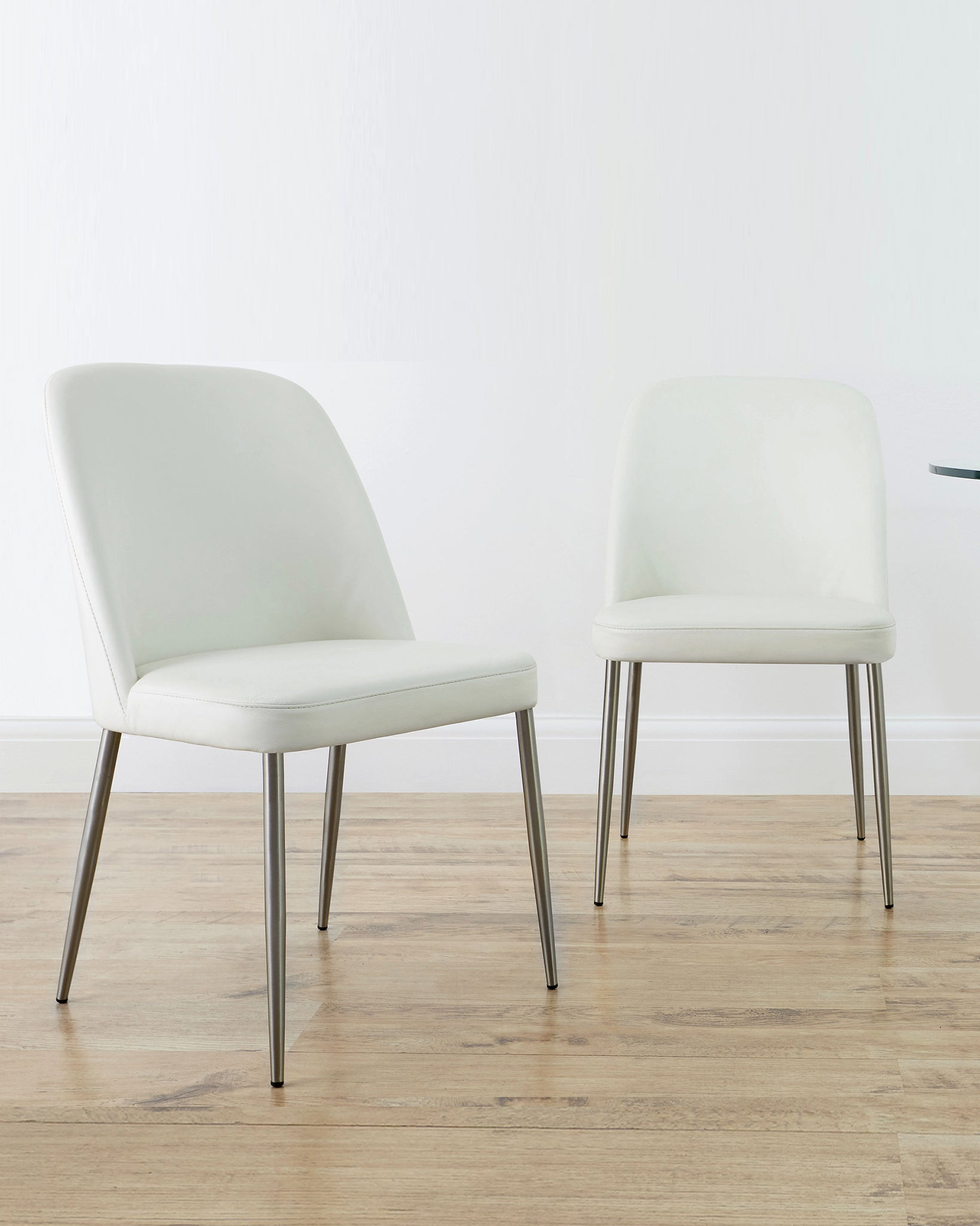 Deco White Real Leather Dining Chair - Set Of 2