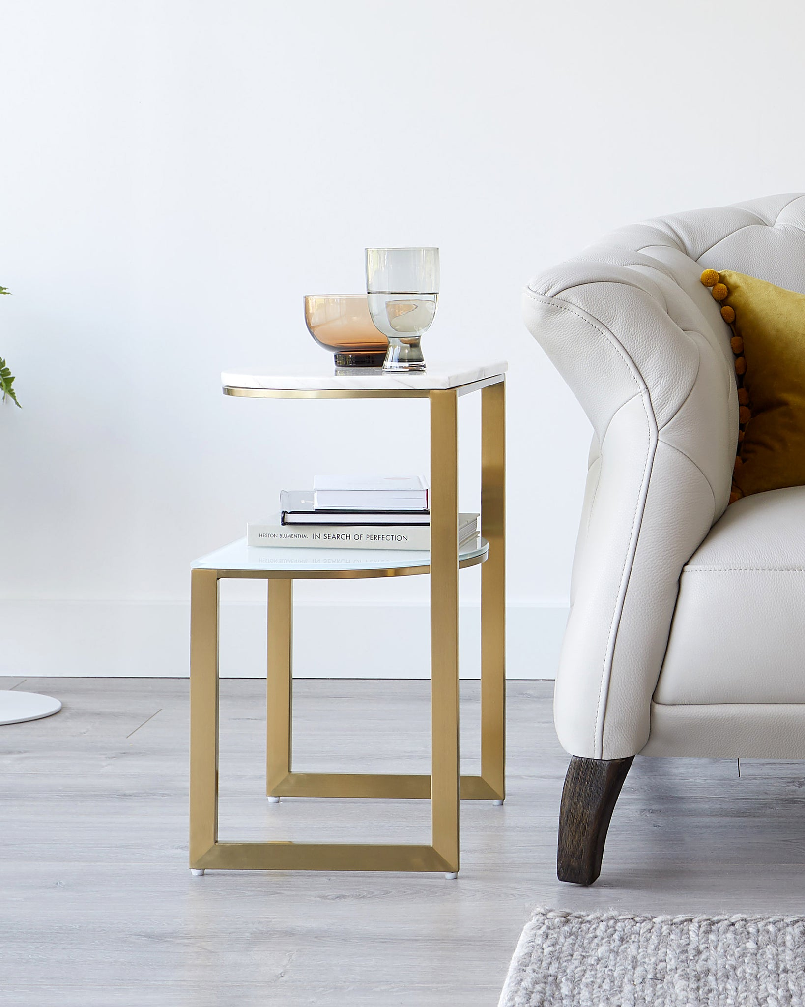 Demi White Marble And Brass Side Table