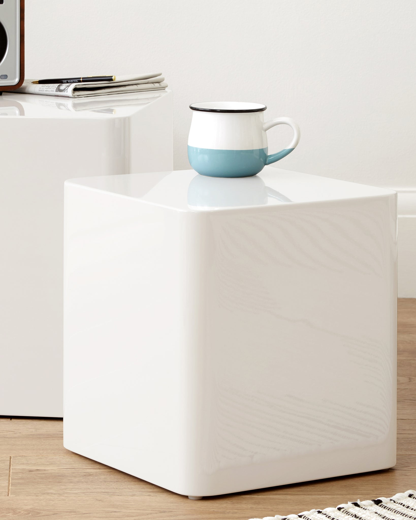 Dice White High Gloss Side Tables
